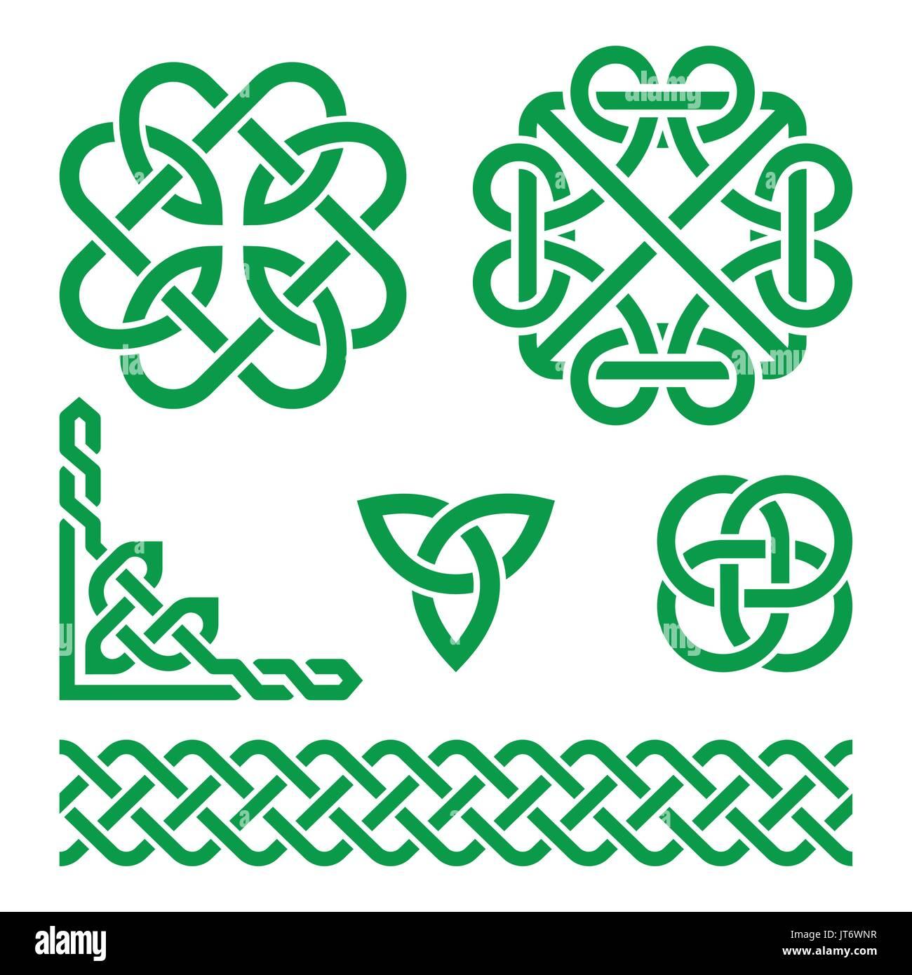 Celtic green irish knots braids and patterns stock vector art celtic green irish knots braids and patterns buycottarizona Image collections