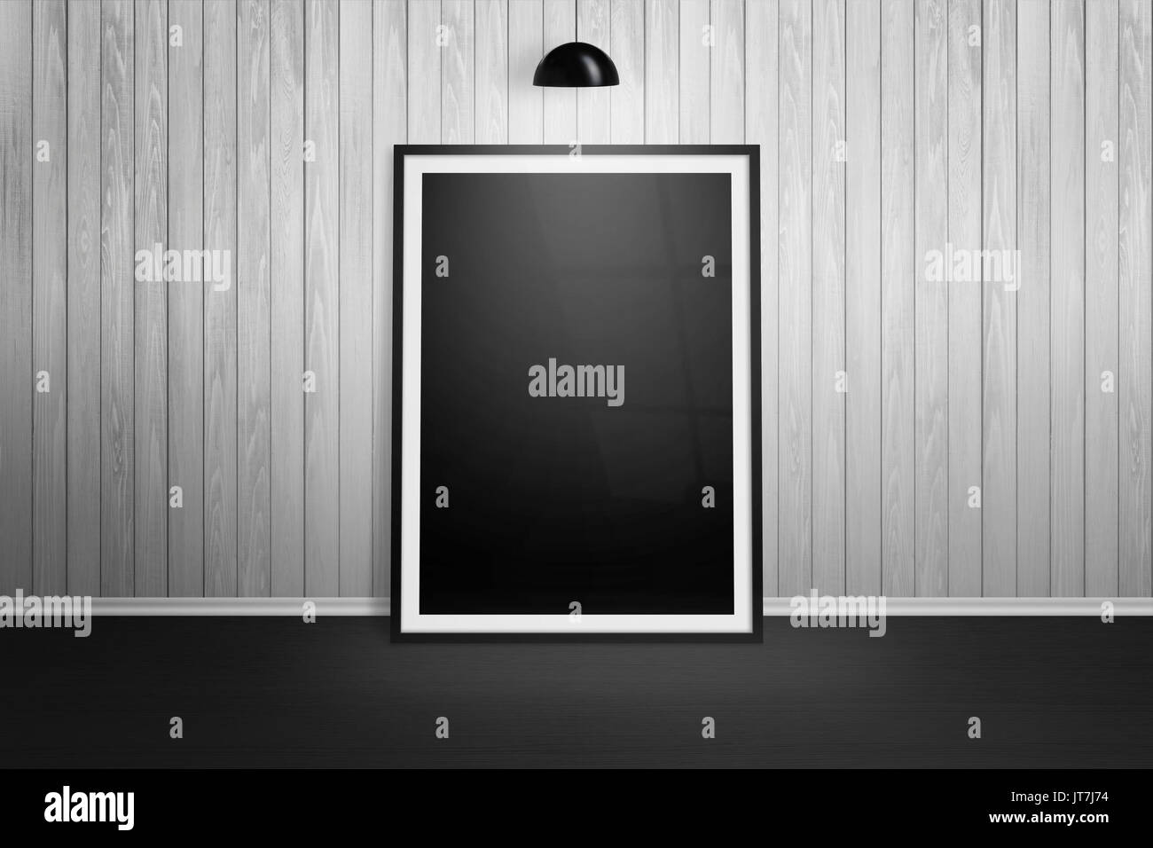 Picture frame mockup frame leaning on white wooden wall black picture frame mockup frame leaning on white wooden wall black lamp hanging jeuxipadfo Gallery