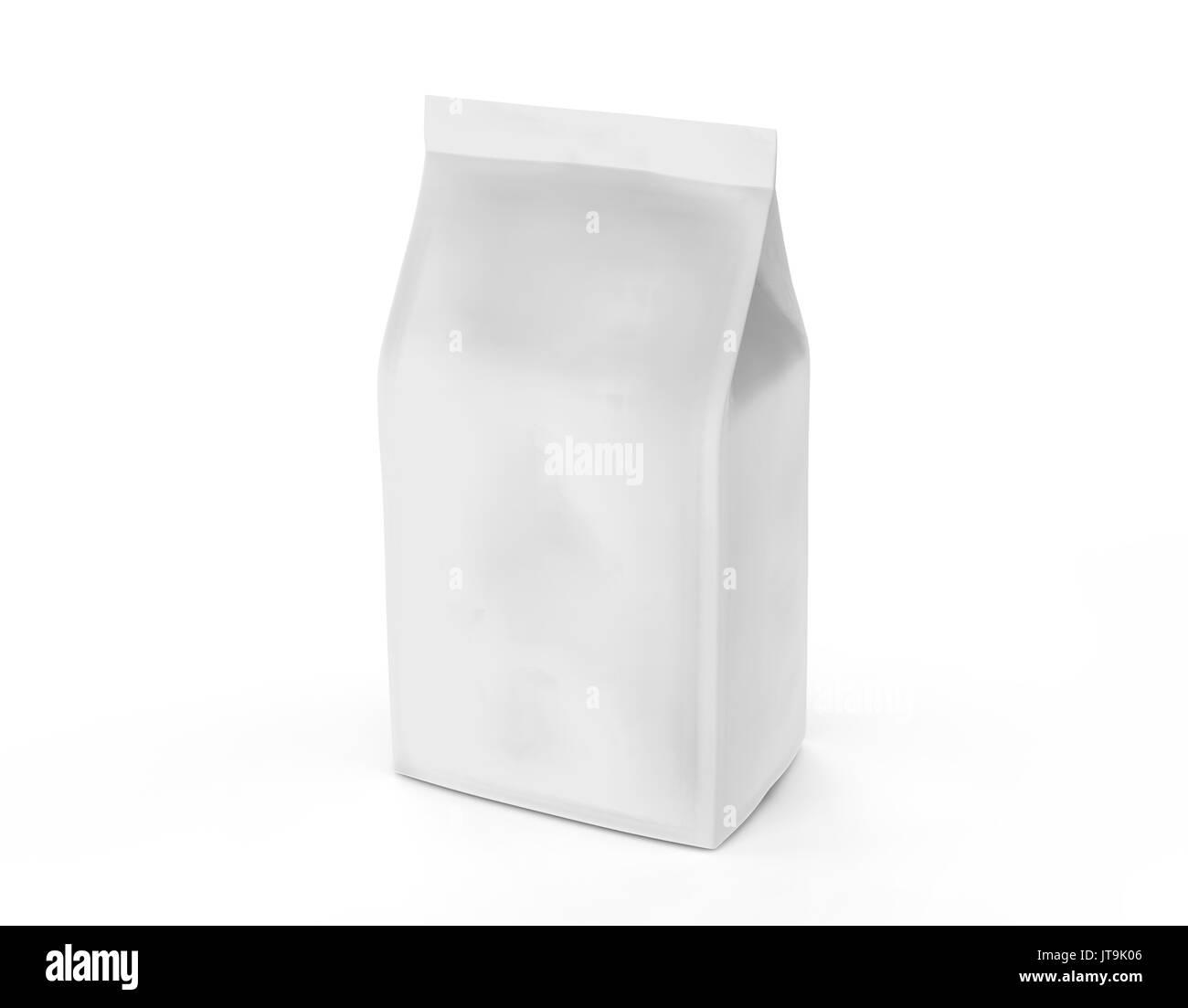 pearl white coffee bean bag mockup blank foil bag template in 3d