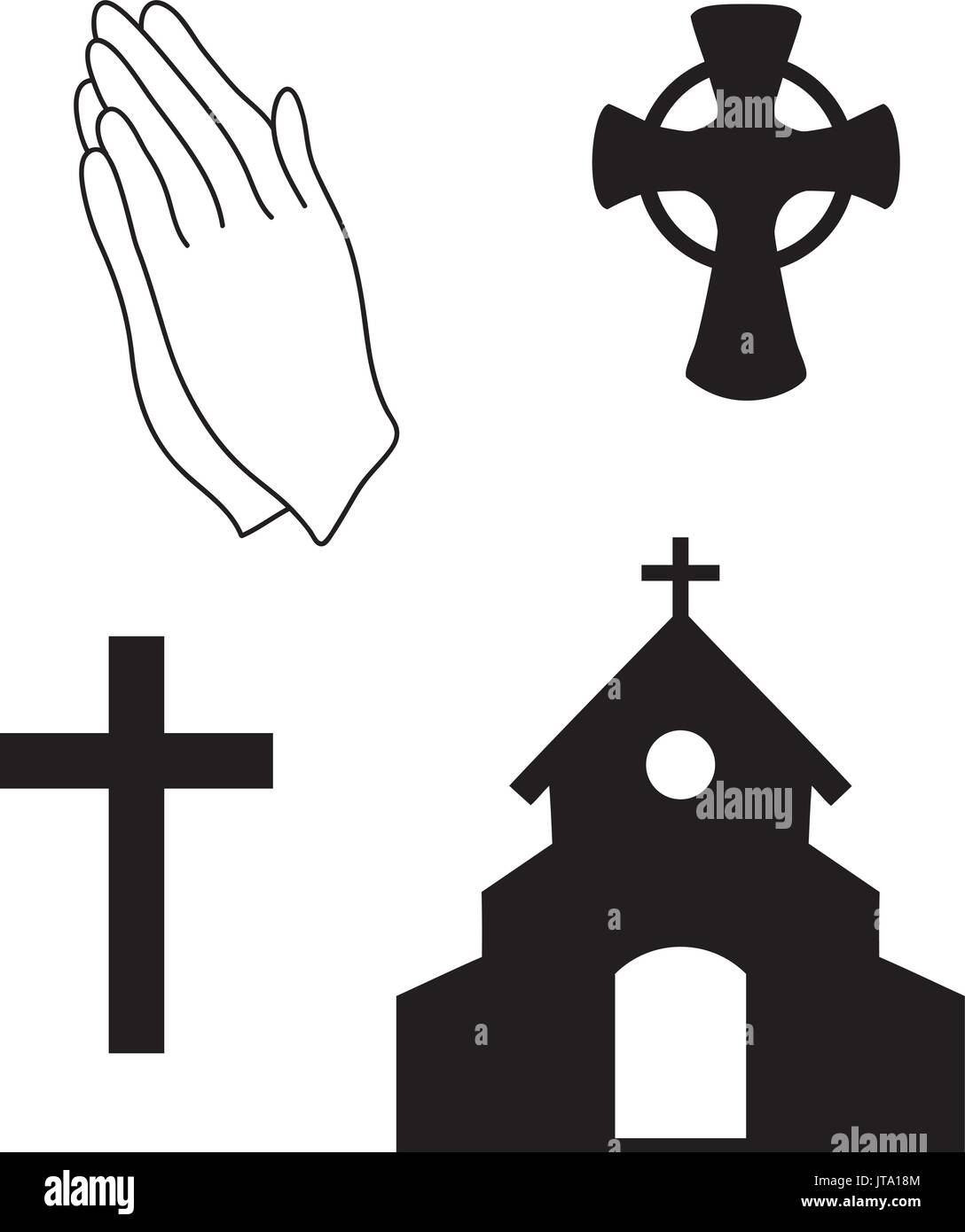A set of religious christian icons and symbols inclusing noahs ark icons for catholicity vector illustration of christian faith church symbols praying hands celtic cross stock buycottarizona