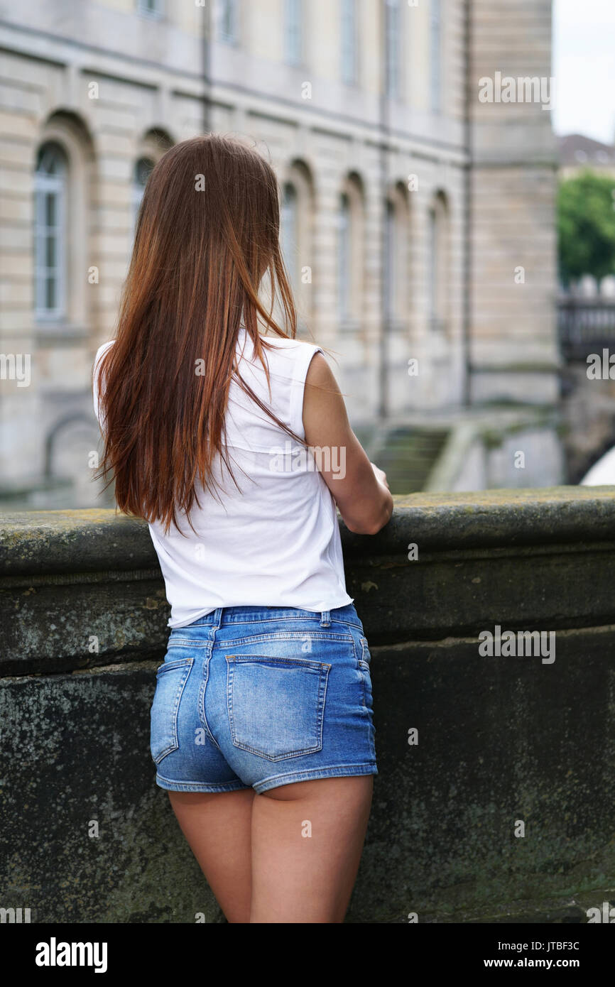 hot pants or booty shorts fashion trend stock photo