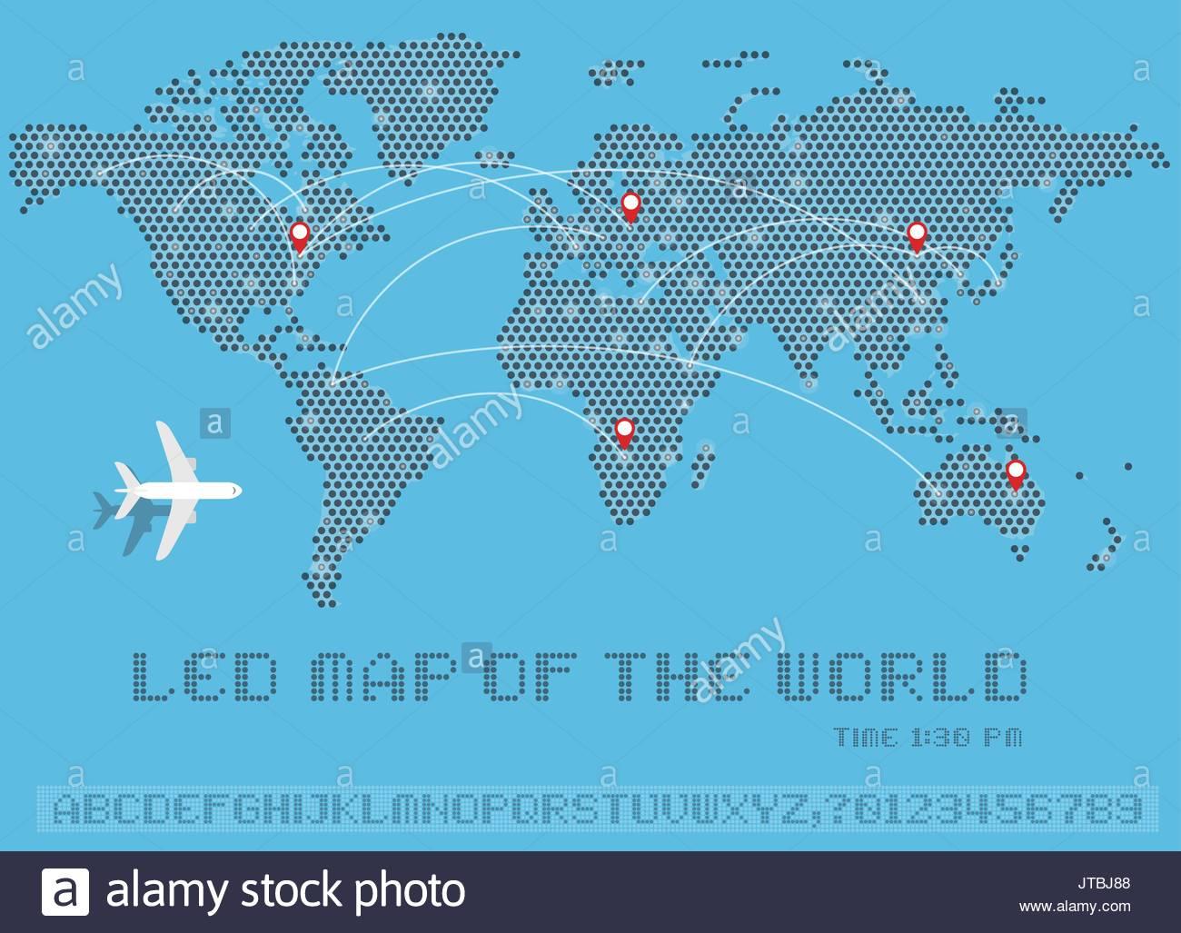 World map of dots led uppercase english alphabet number vector world map of dots led uppercase english alphabet number vector illustration gumiabroncs Images