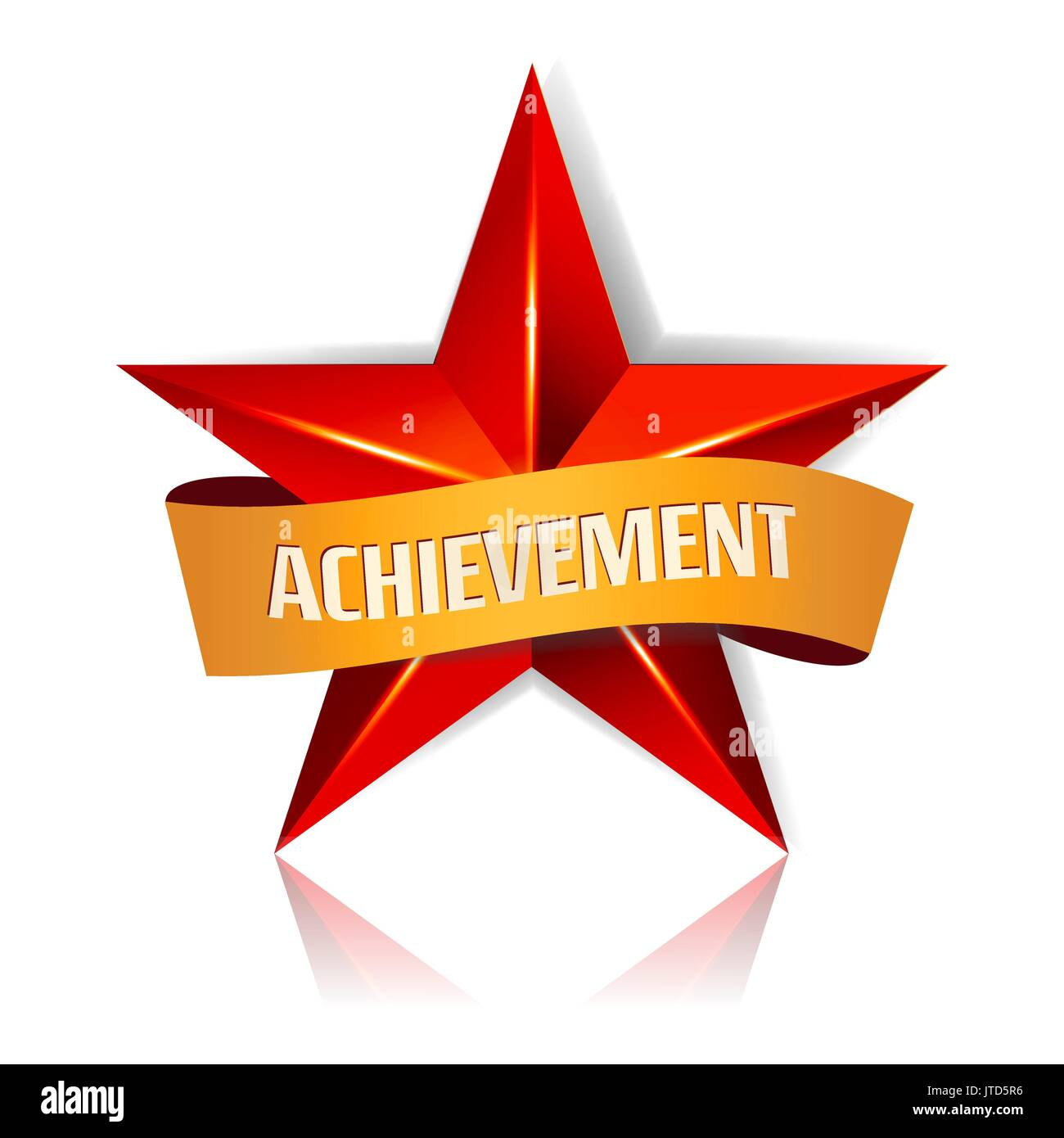Achievement Vector Star With Yellow Ribbon Red Sign Place For Text