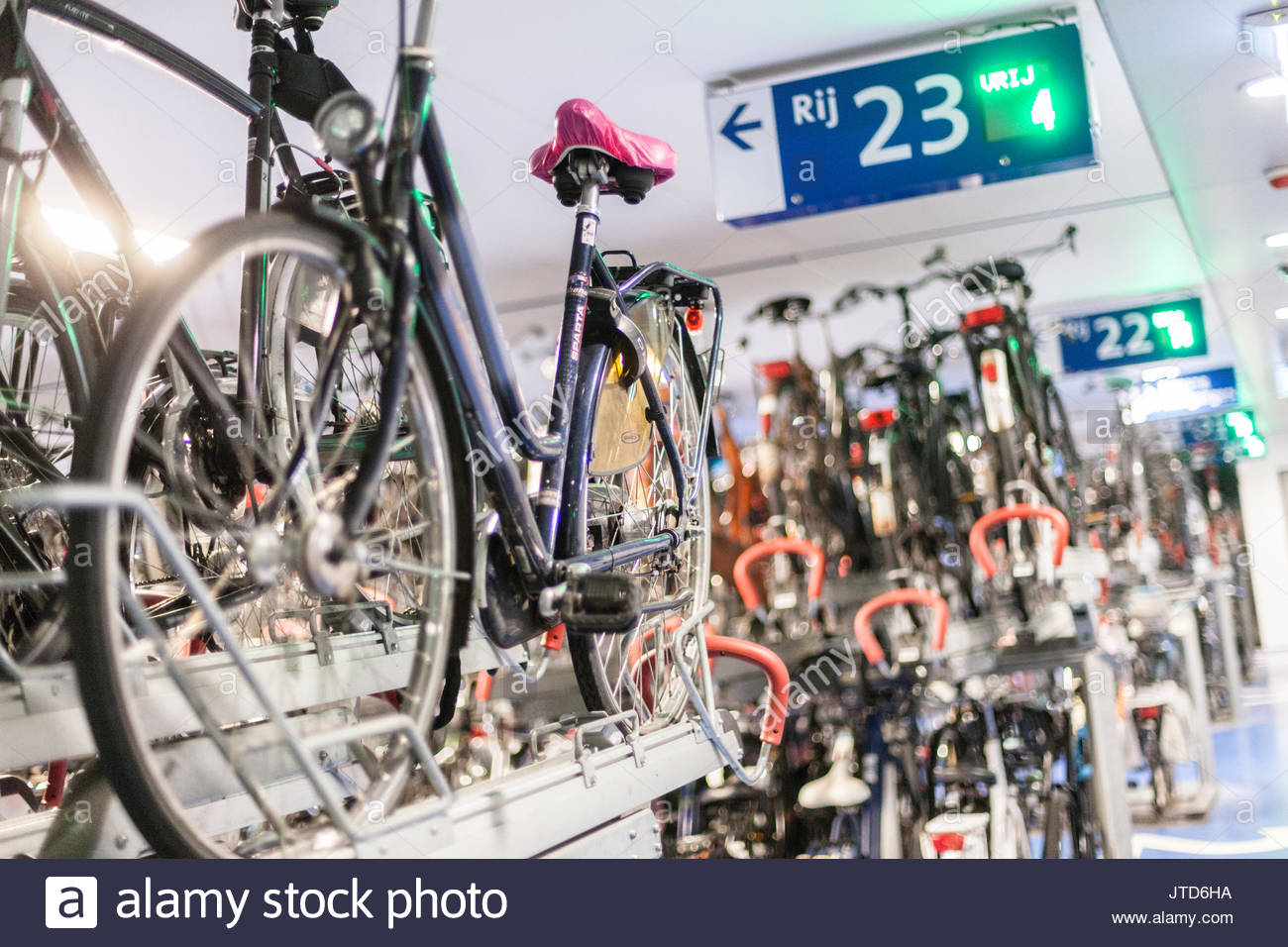 Indoor Bicycle Parking Space At Utrecht Centraal Station Stock
