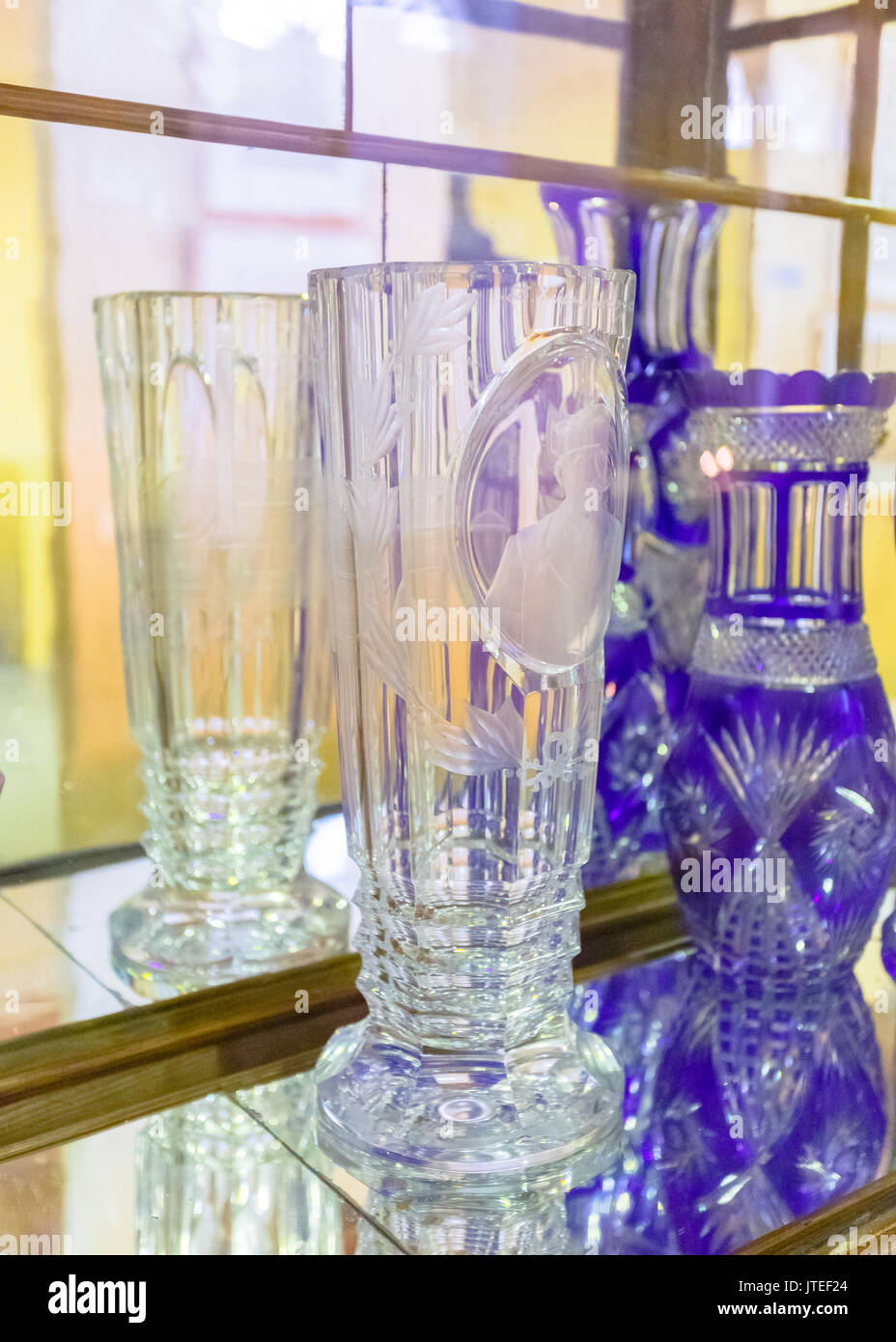 Vintage crystal vases in the industrial museum of ermoupolis vintage crystal vases in the industrial museum of ermoupolis greece this museum depicts the floridaeventfo Images