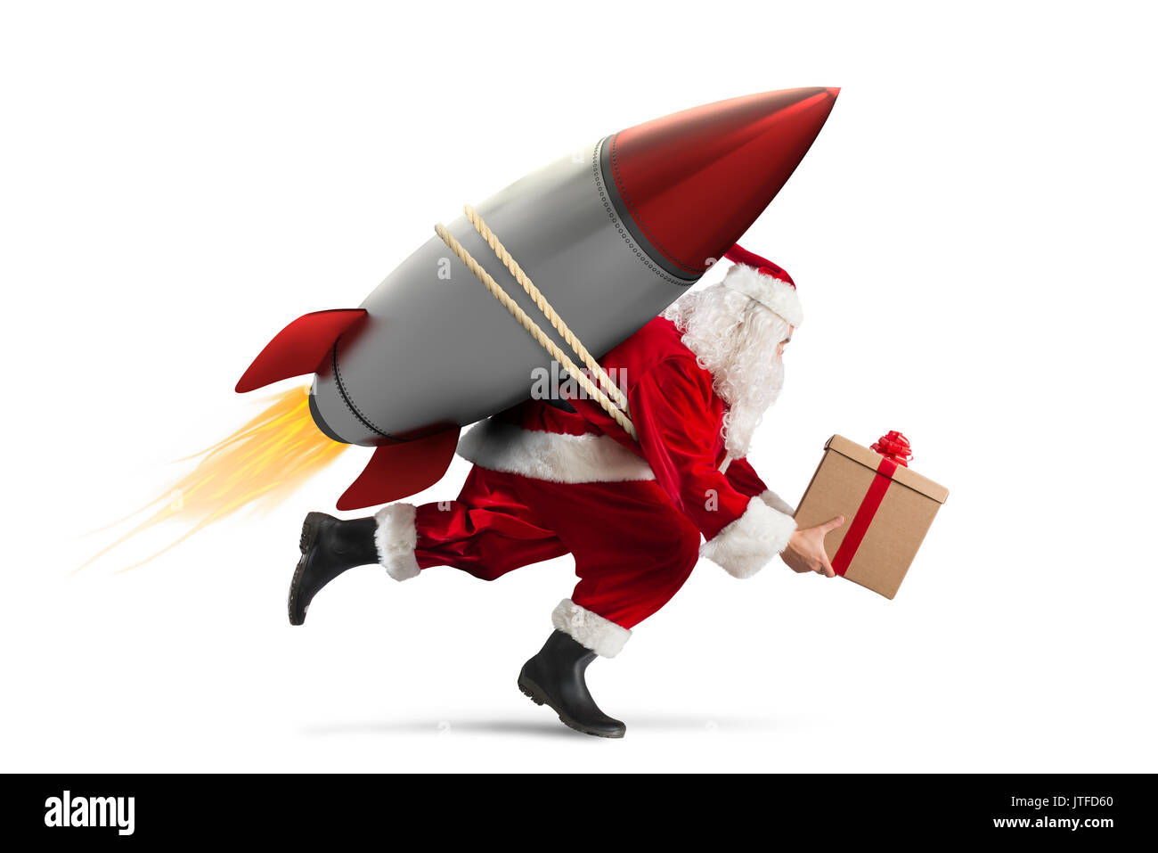 Fast delivery of Christmas gifts ready to fly with a rocket isolated ...
