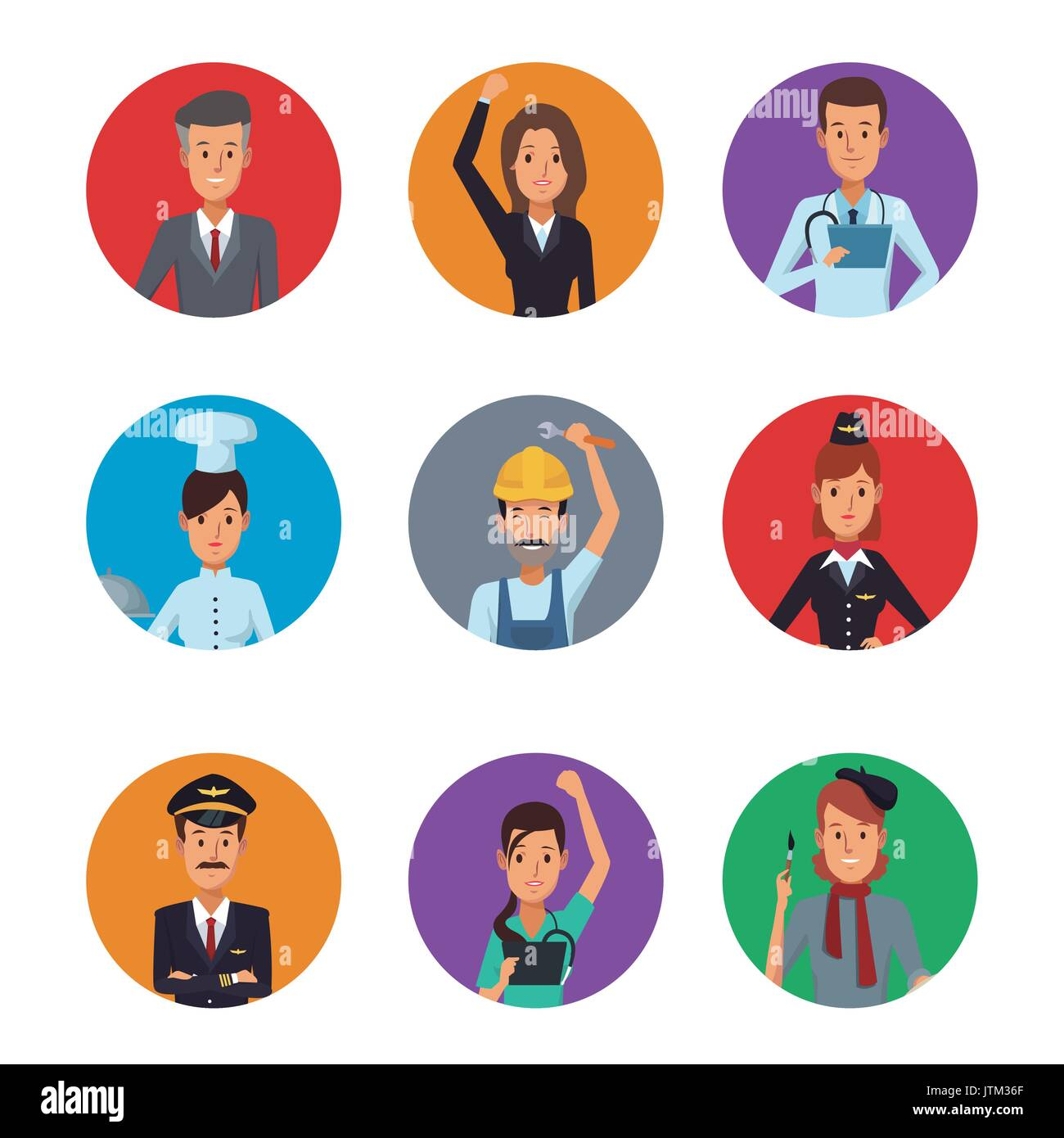 white background with colorful circular frame icons group people of ...