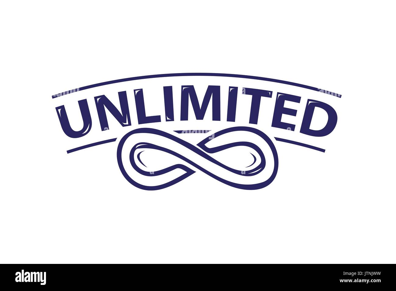 infinity symbol with unlimited word icon design isolated on white