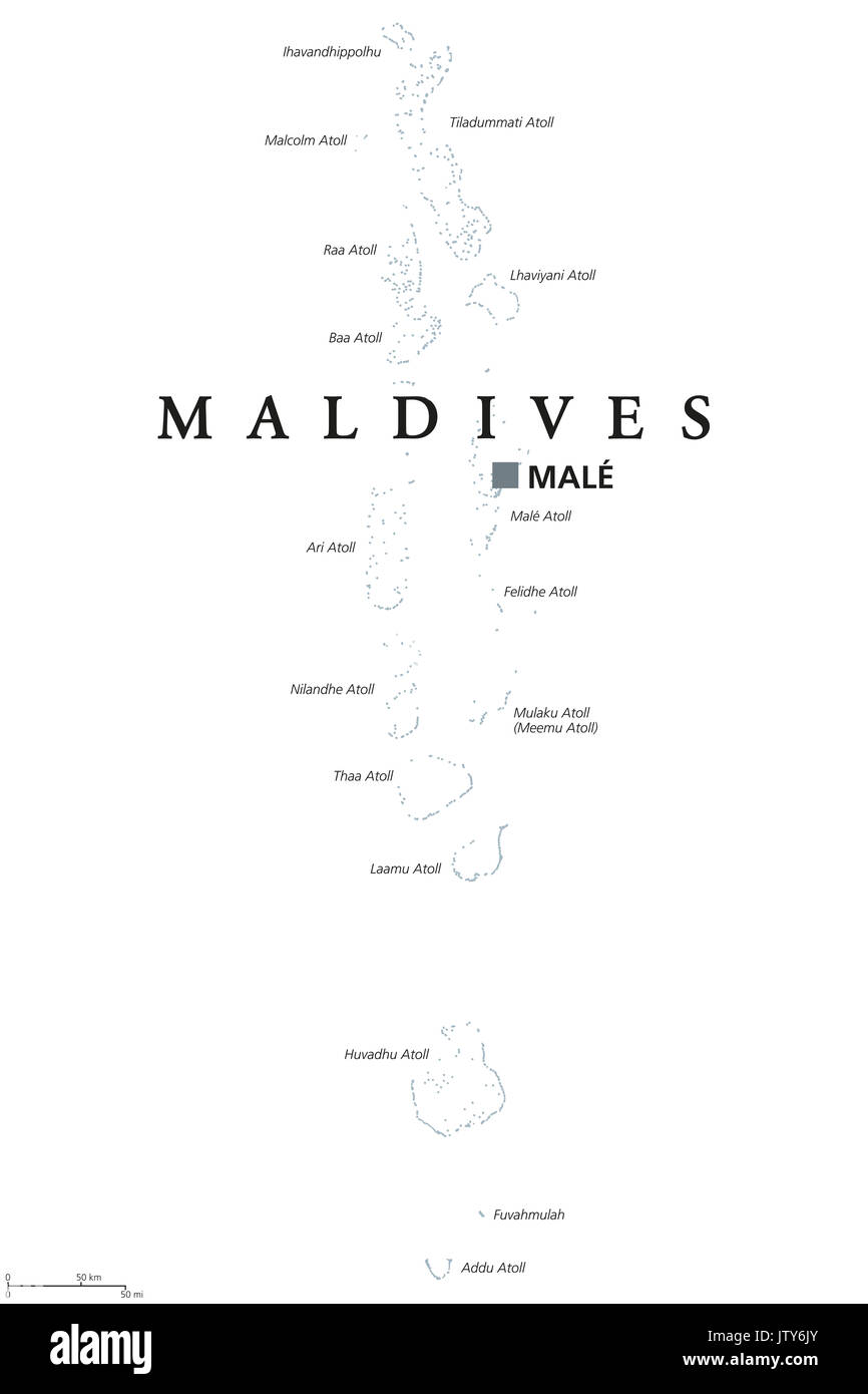 Maldives political map with capital Male English labeling