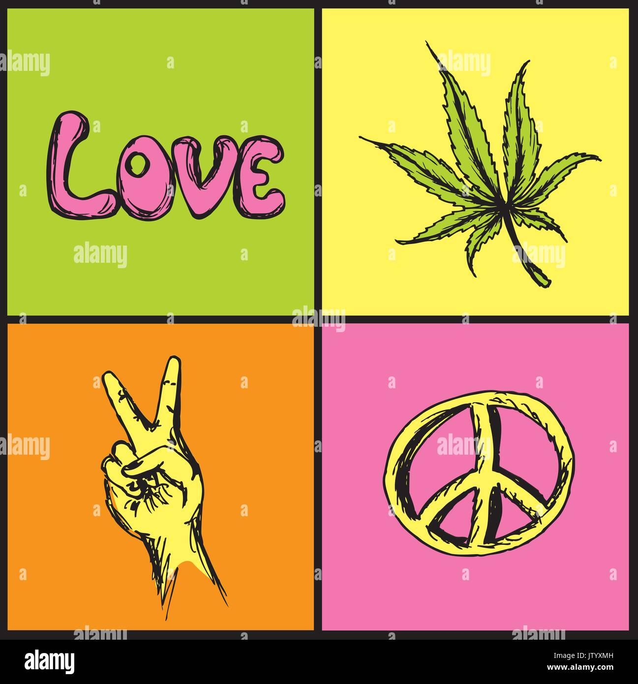 Hand Drawn Hippie Symbols Set Victory Love Peace And Marijuana