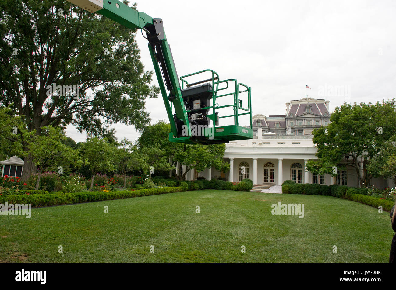 Construction crane in the Rose Garden of the White House looking ...