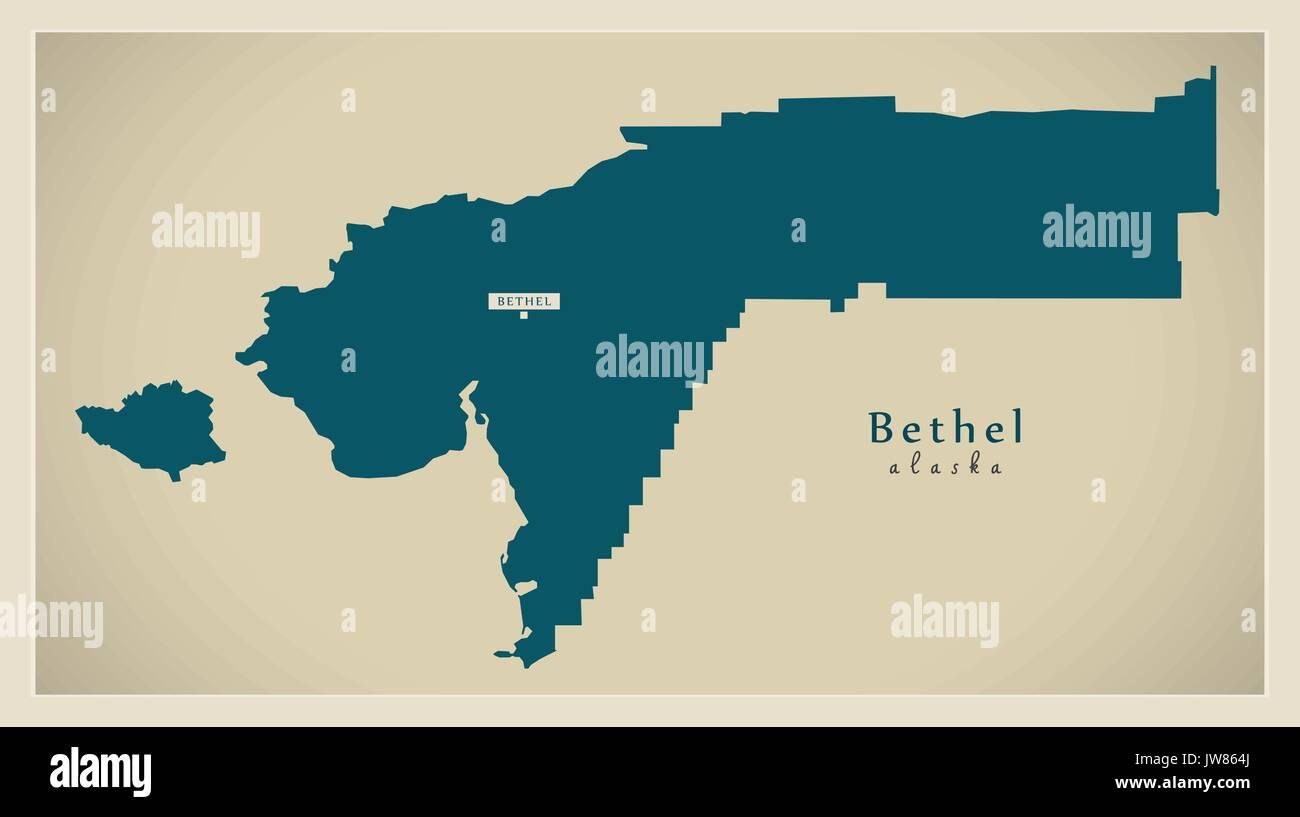 Modern Map Bethel Alaska county USA illustration Stock Vector Art