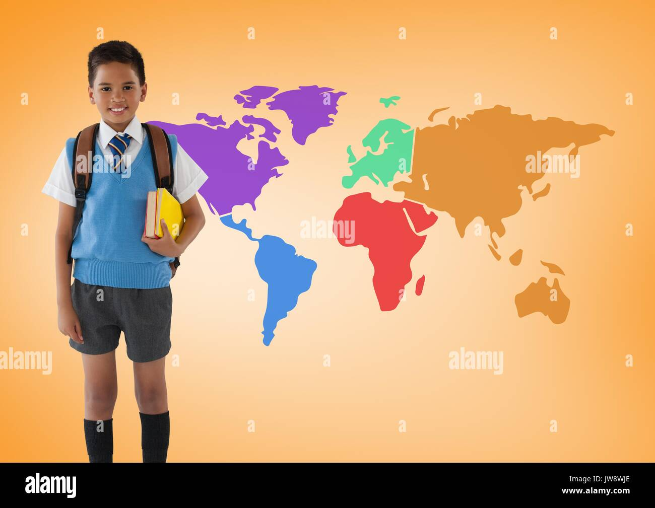 Digital Composite Of Schoolboy In Front Of Colorful World Map - Colorful world map