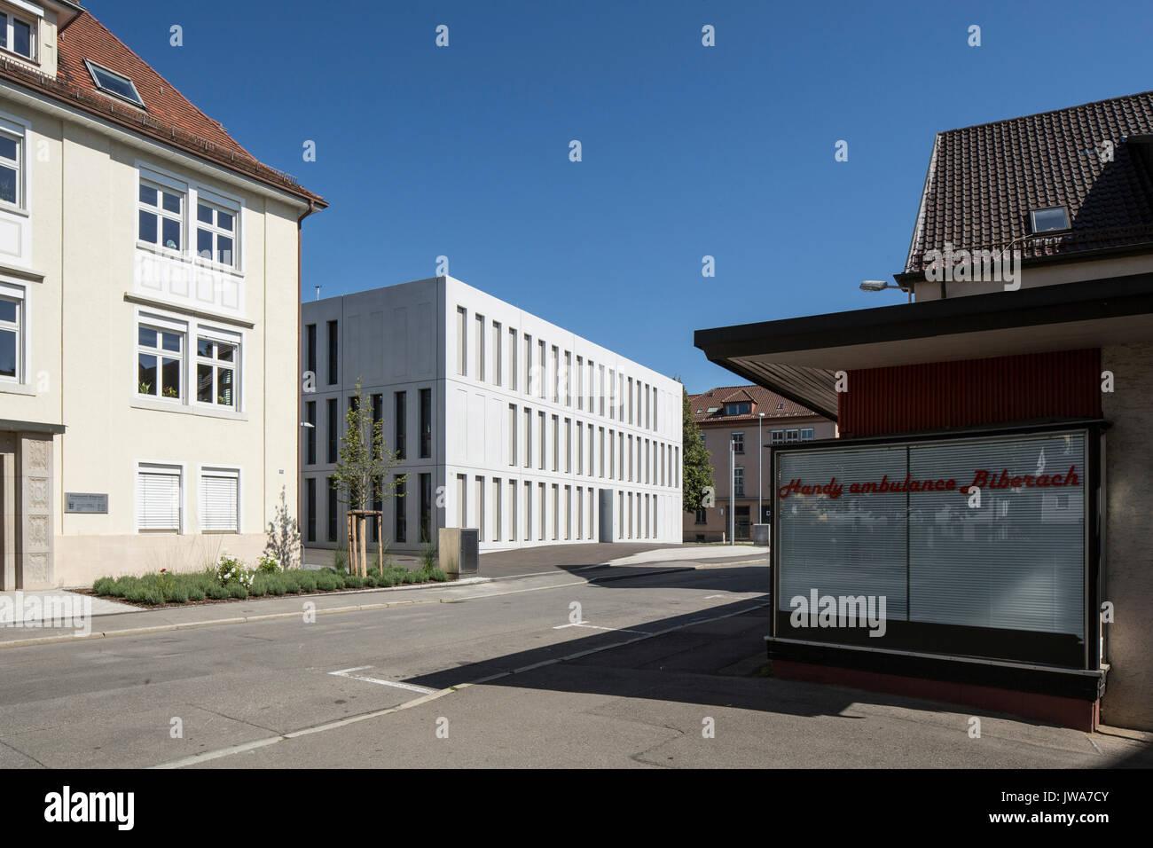 Architekten Biberach view across bahnhofstrasse towards finance offices finanzamt stock
