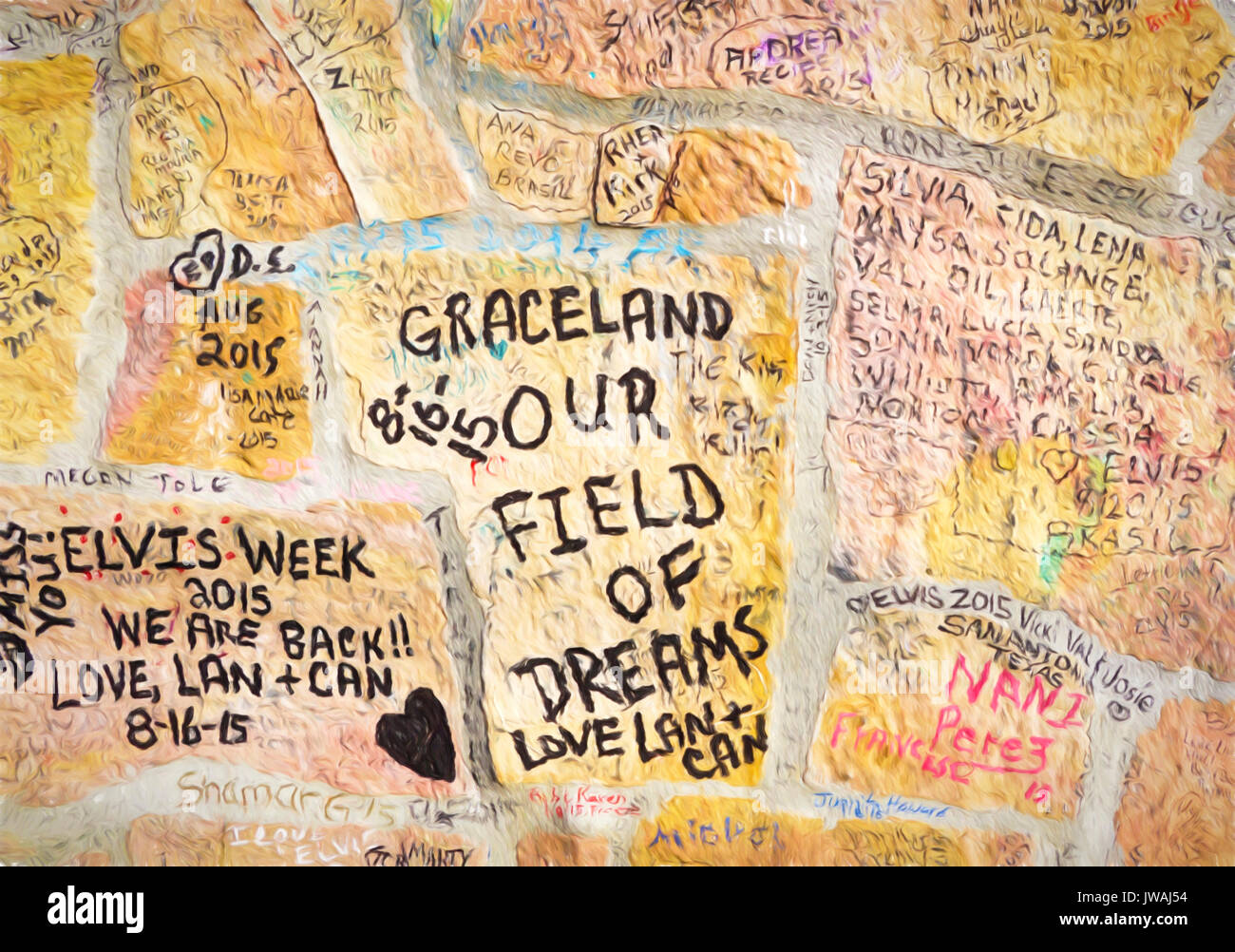 Graffiti on stone wall at entrance to Elvis Presley\'s Graceland ...