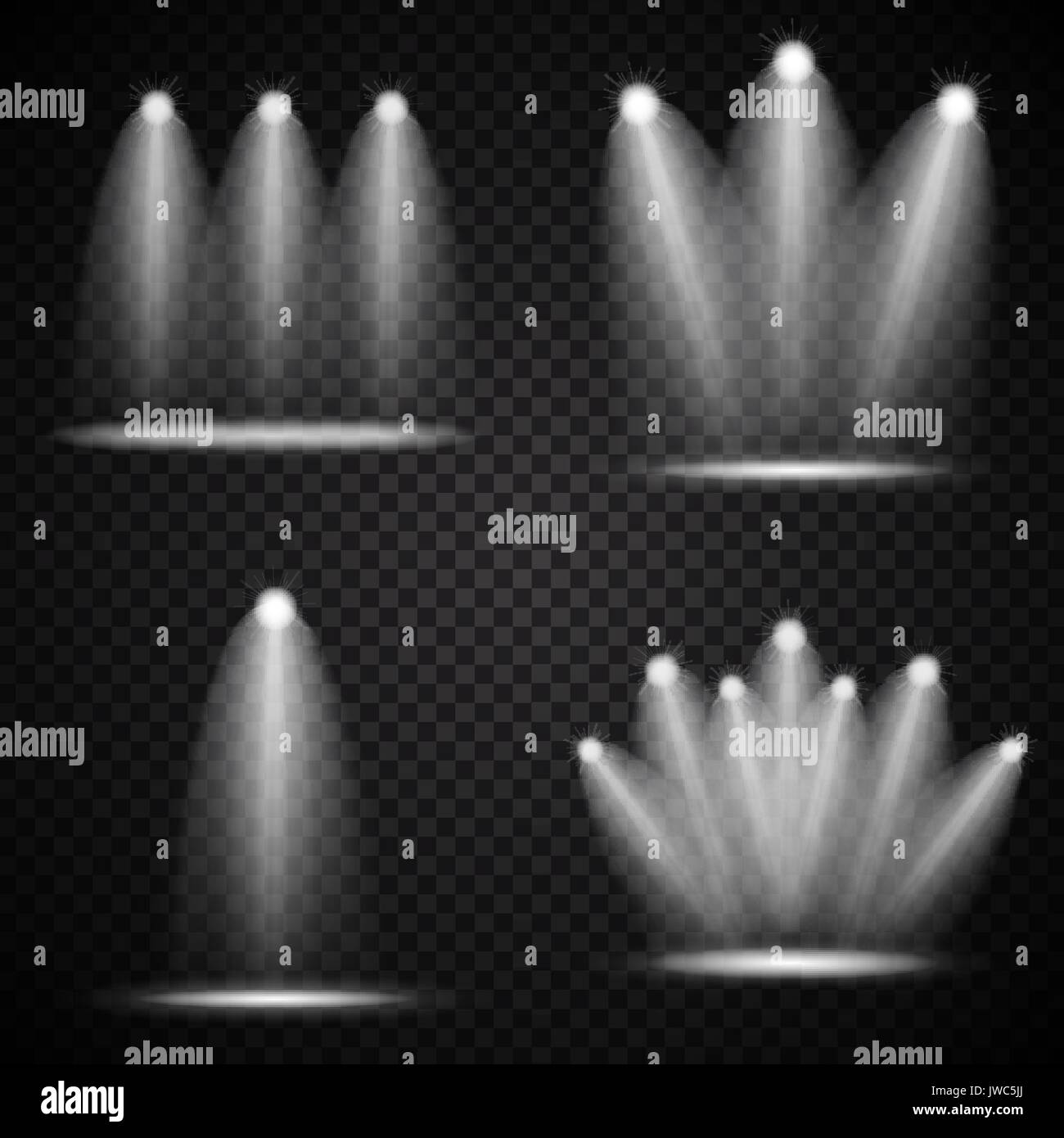 Set Of Realistic Bright Projectors Lighting Lamp Collection With Spotlights Effects Transparency Isolated On Transparent Background