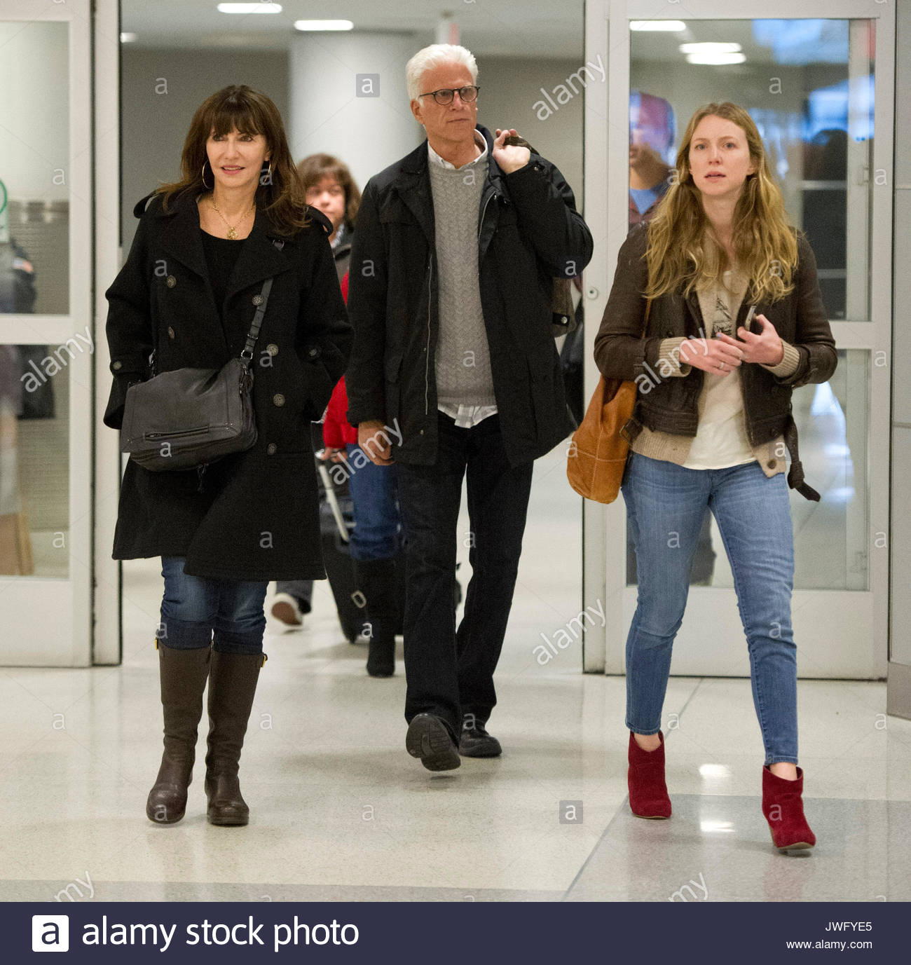 Stock photo ted danson mary steenburgen and lilly mcdowell ted danson mary steenburgen and her daughter lilly mcdowell arrive at jfk airport in new