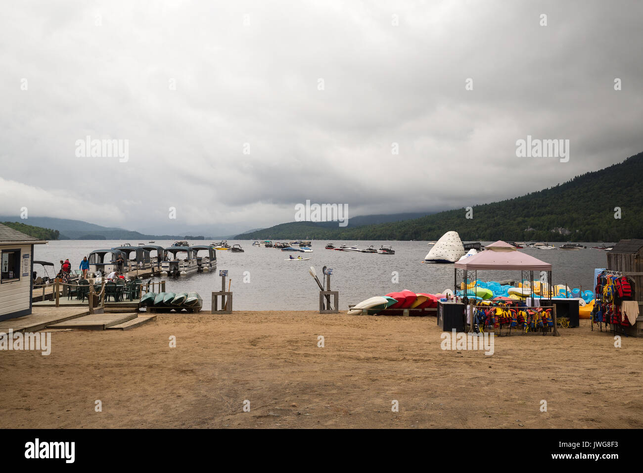 Lake Tremblant at the foot of Mont Tremblant in Canada - Stock Image & Mont Tremblant National Park Stock Photos u0026 Mont Tremblant ...