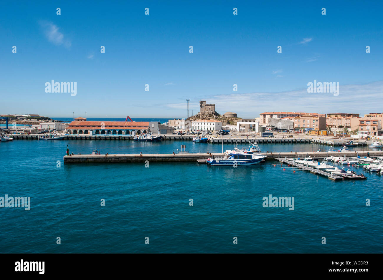 Ferry departure spain stock photos ferry departure spain - Moroccan port on the strait of gibraltar ...