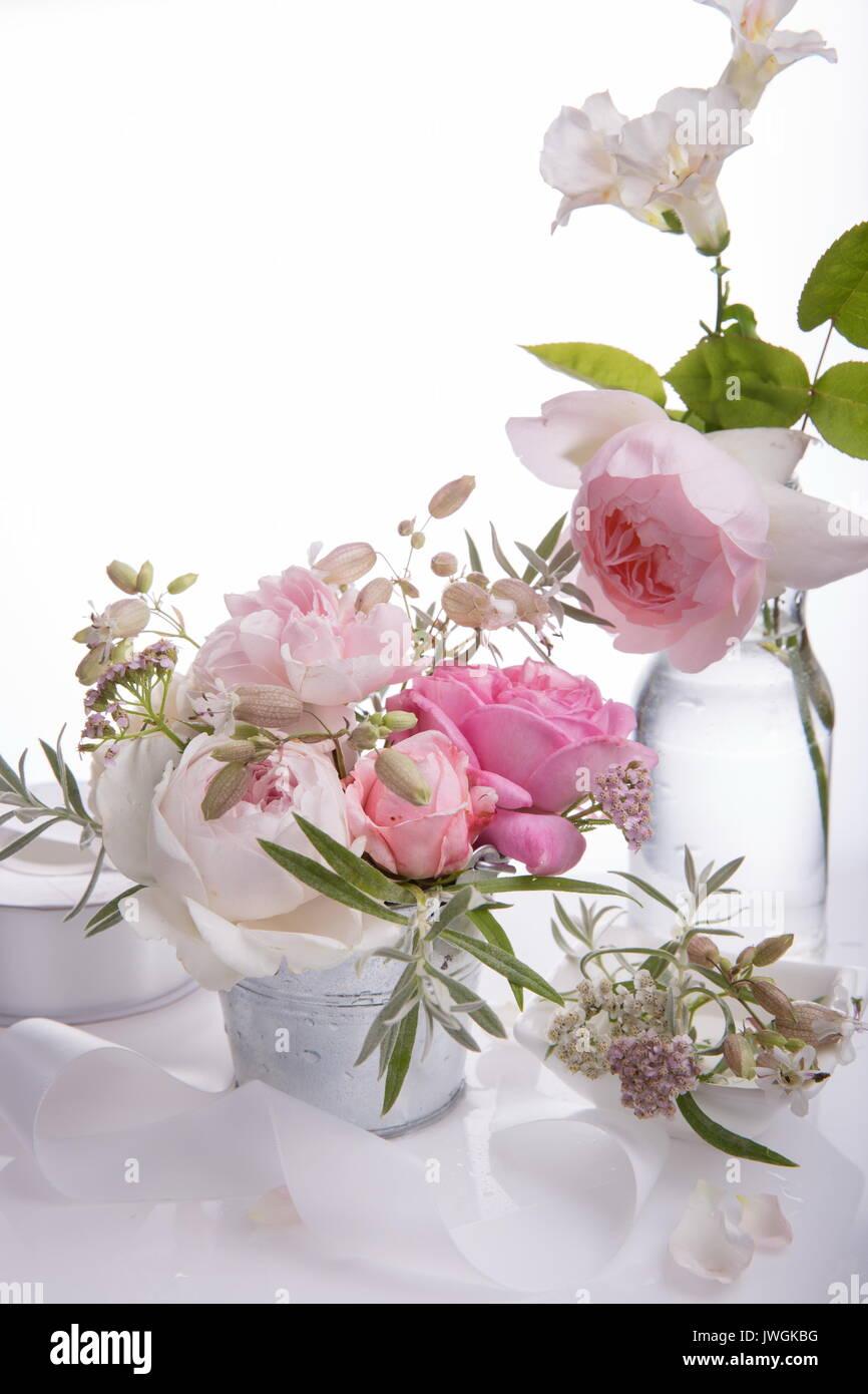 Beautiful English Rose Flower Bouquet On White Background Stock