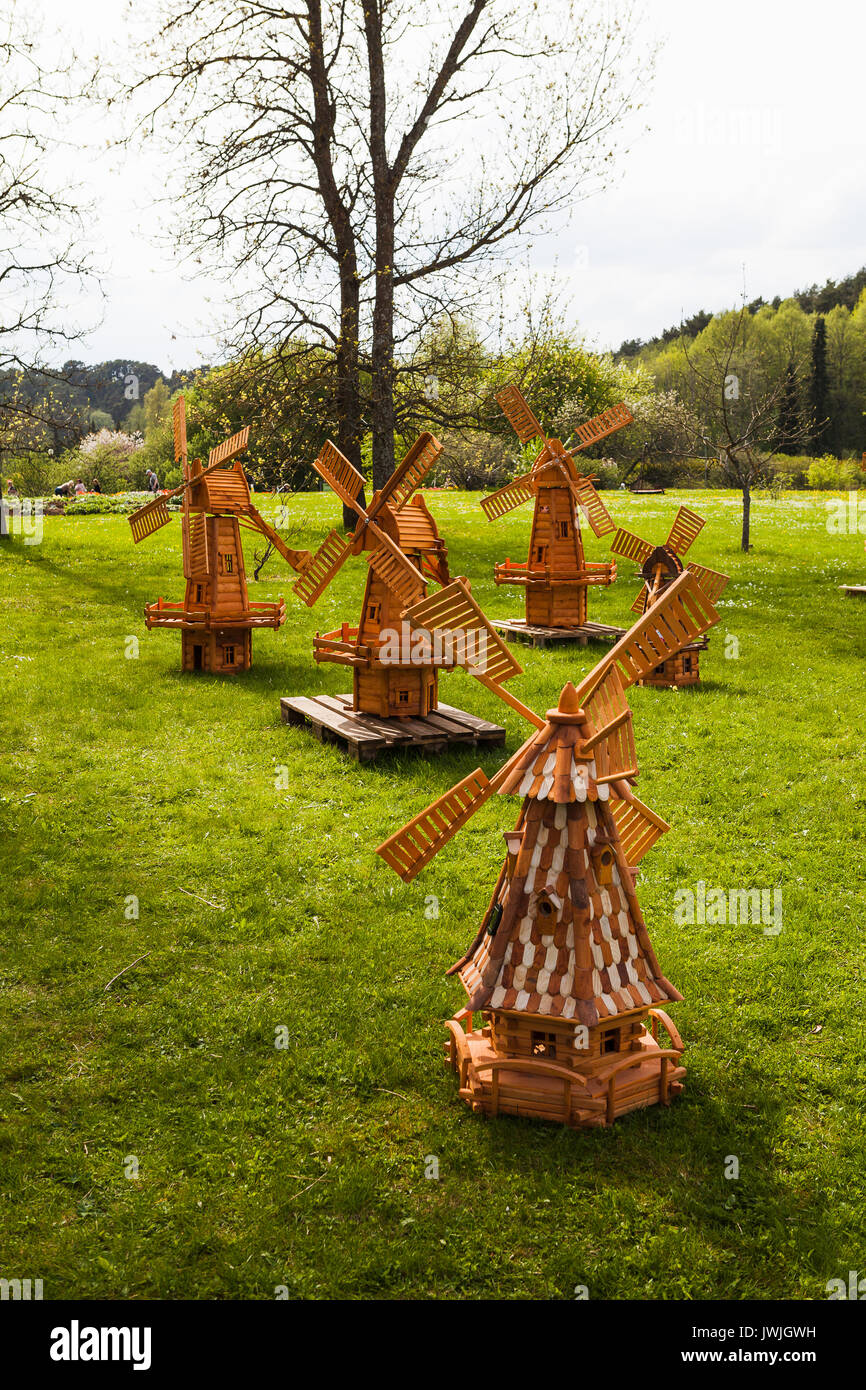 Small wooden windmills for decorative garden Stock Photo, Royalty ...
