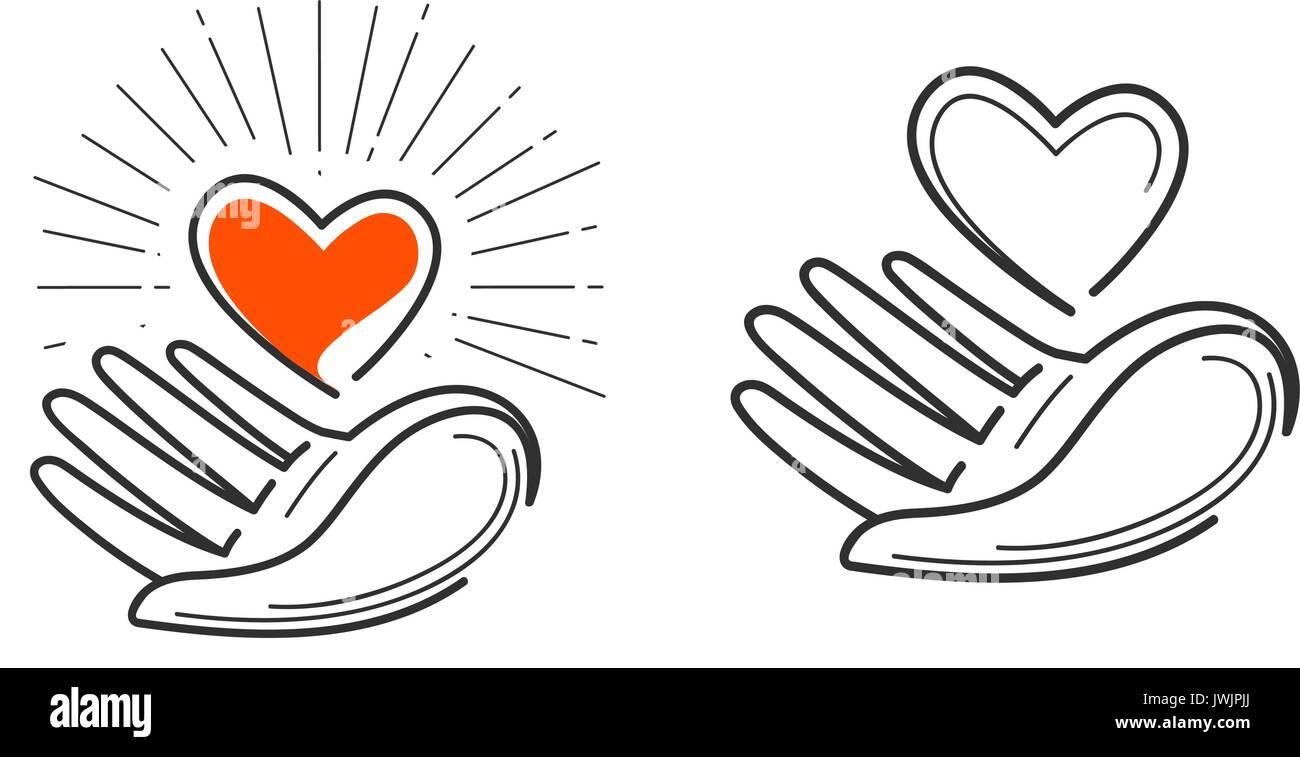 Charity life love health logo heart in hand icon or symbol charity life love health logo heart in hand icon or symbol vector illustration biocorpaavc