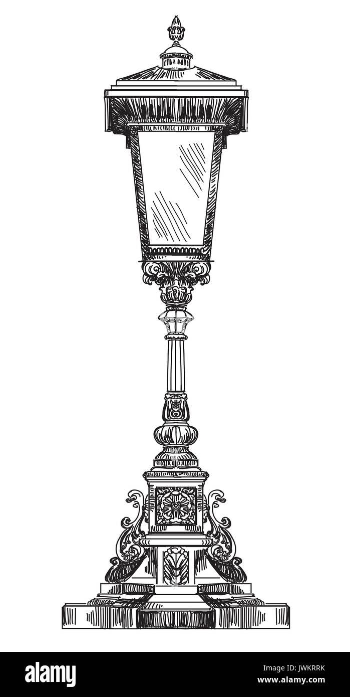Sketch of street light, vector drawing Stock Vector Art ... for Street Light Drawing  5lp5wja