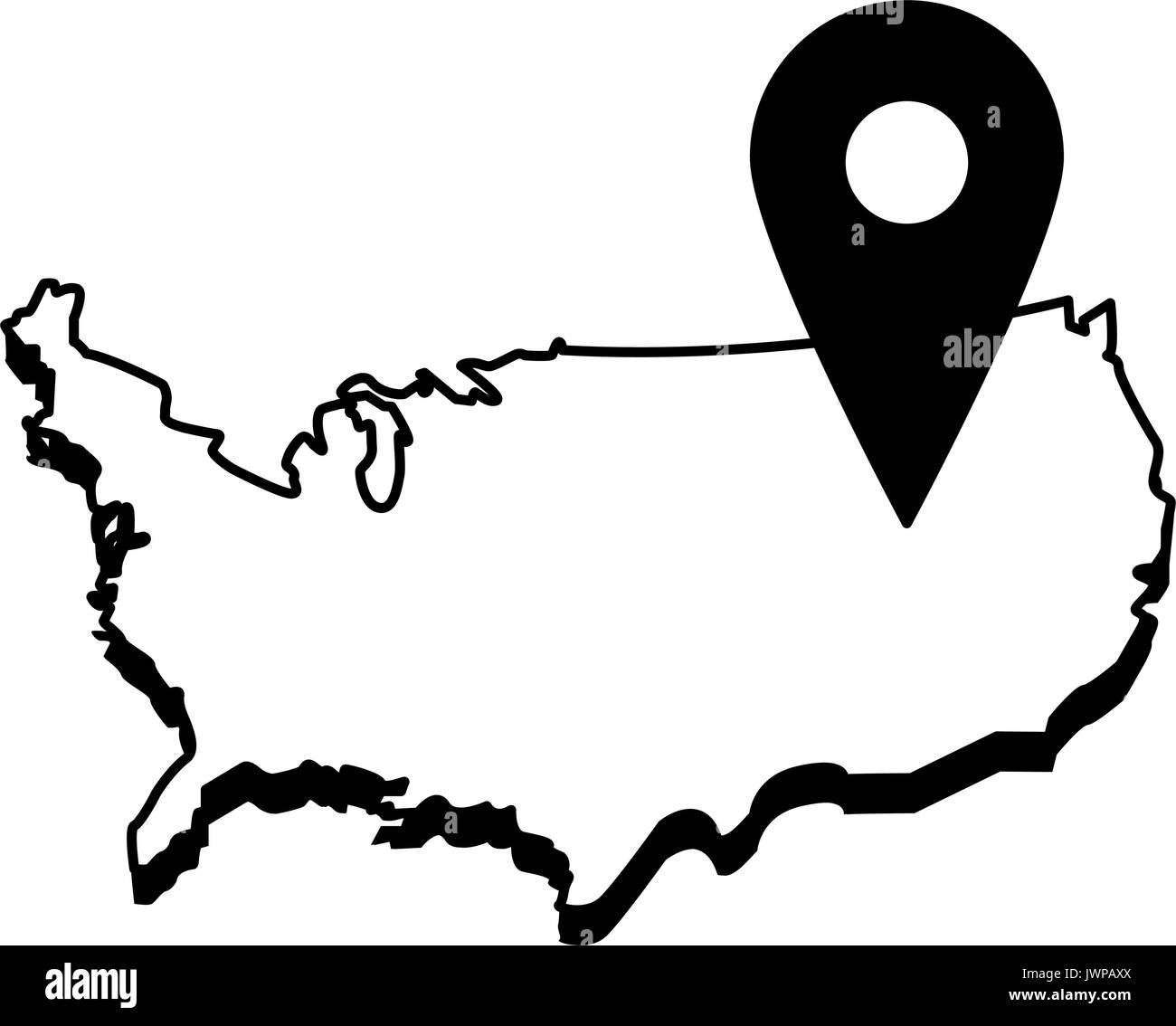 usa map outline with gps pin icon image Stock Vector Art