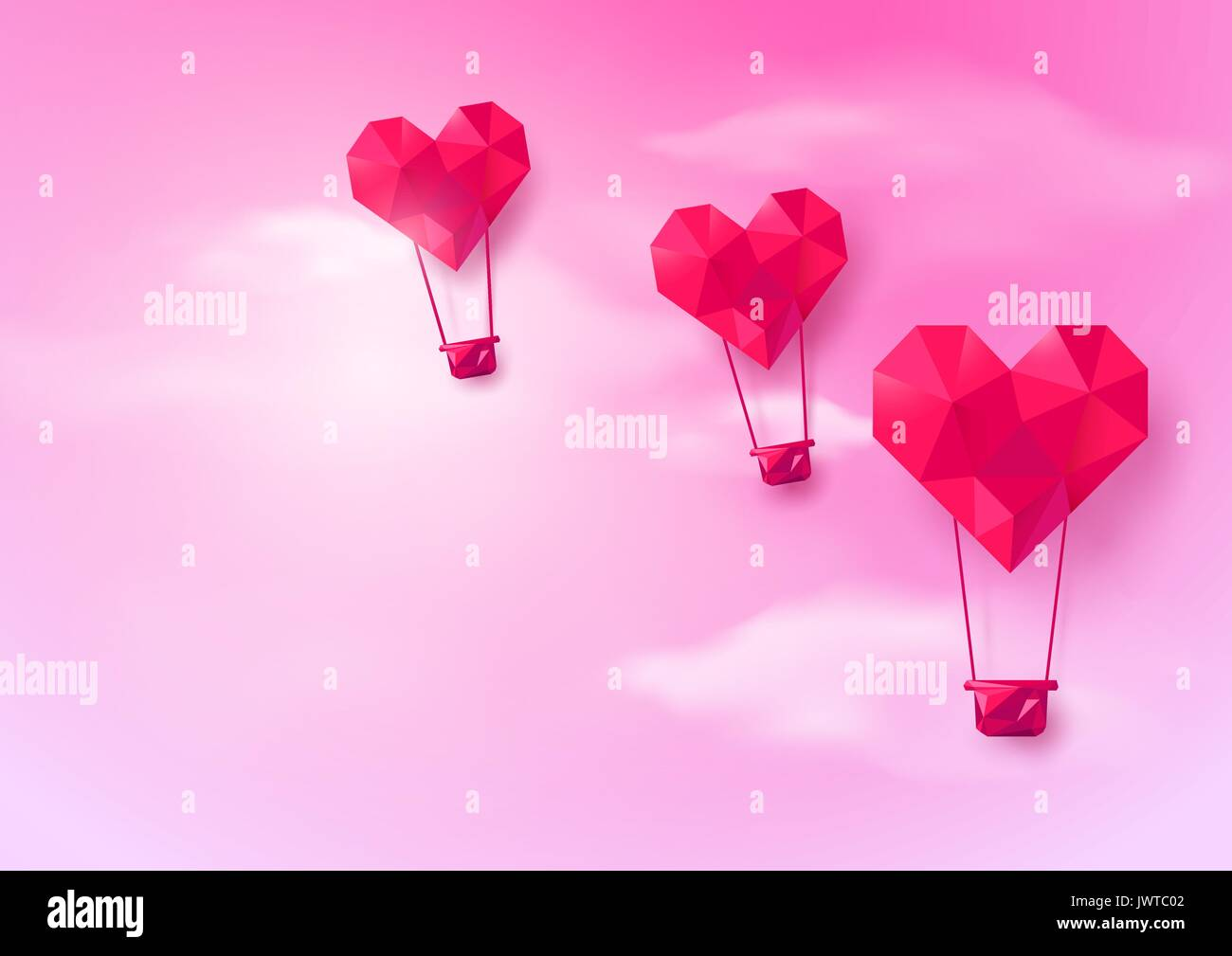 Hot air balloons heart shaped flying on pink sky background low hot air balloons heart shaped flying on pink sky background low polygonal and origami style design jeuxipadfo Choice Image