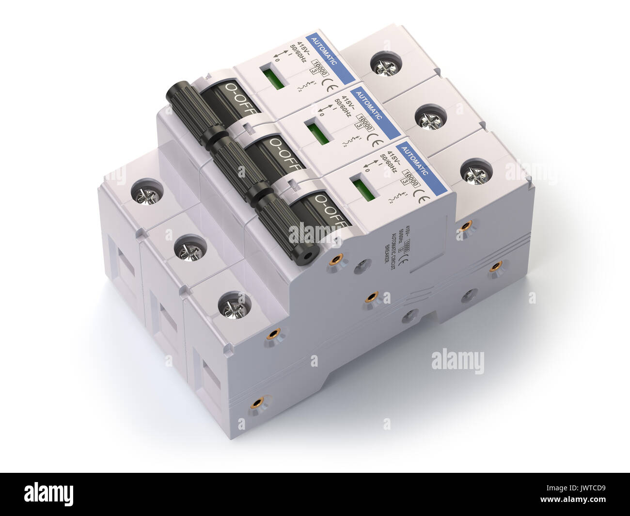 Circuit Breaker Isolated On White Background Vector Illustration 1988 Mercy 560sel Blower Motor Outside Fuse Box Diagram Automatic 3d Stock Rh Alamy Com