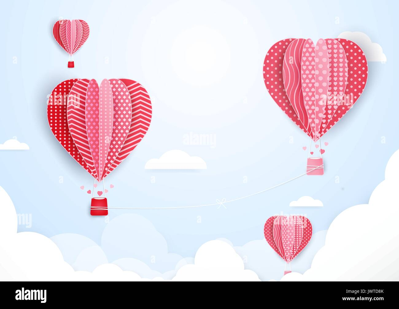 Hot air balloons in shape of heart flying in clouds paper art and hot air balloons in shape of heart flying in clouds paper art and cut origami style jeuxipadfo Choice Image