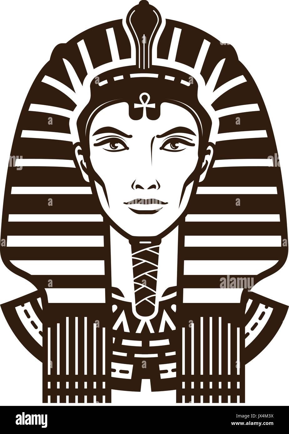 Portrait Of Pharaoh Africa Egypt Egyptian Logo Or Symbol Vintage