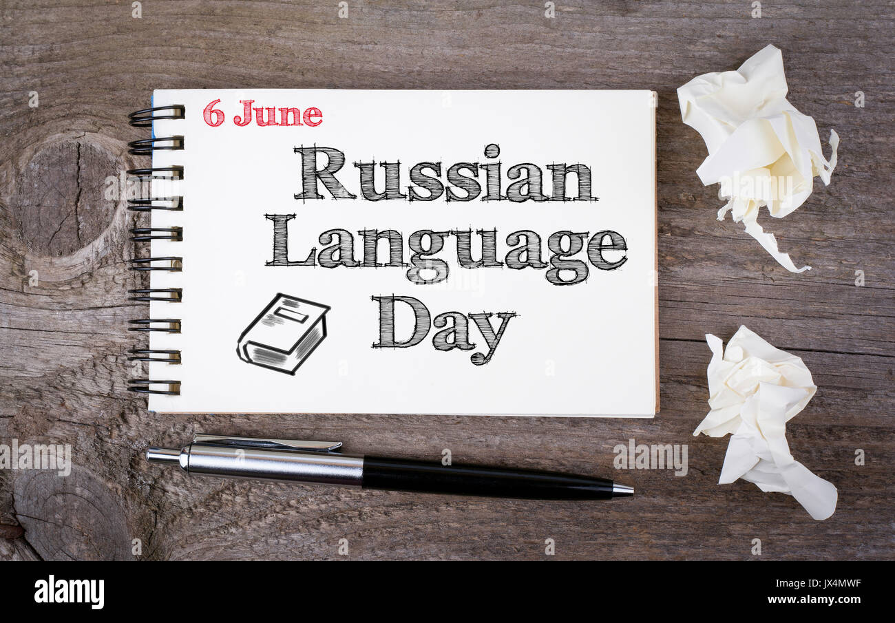 Russian language day stock photos russian language day stock 6 june russian language day notebook and pen on the old wooden table kristyandbryce Gallery