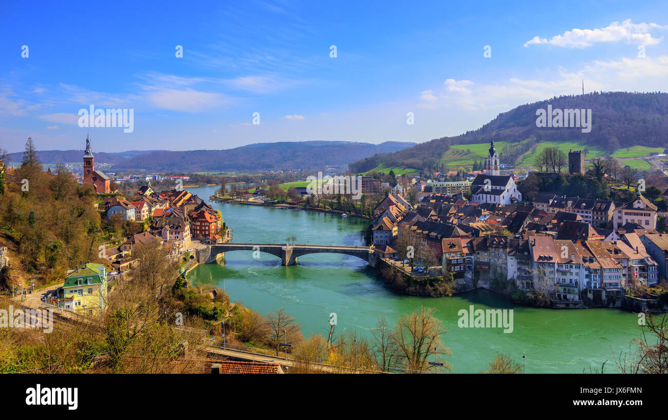 Laufenburg Town On German Swiss Border With The Old Bridge Over - Swiss river to the rhine