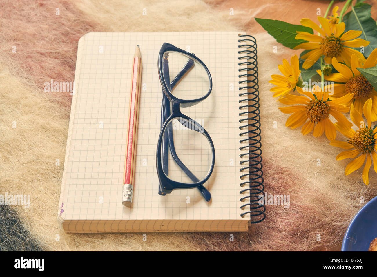 Paper notebook with pen and glasses on woolen plaid with yellow paper notebook with pen and glasses on woolen plaid with yellow flowers aside cozy relax home environment to calm and make some notes closeup low an mightylinksfo