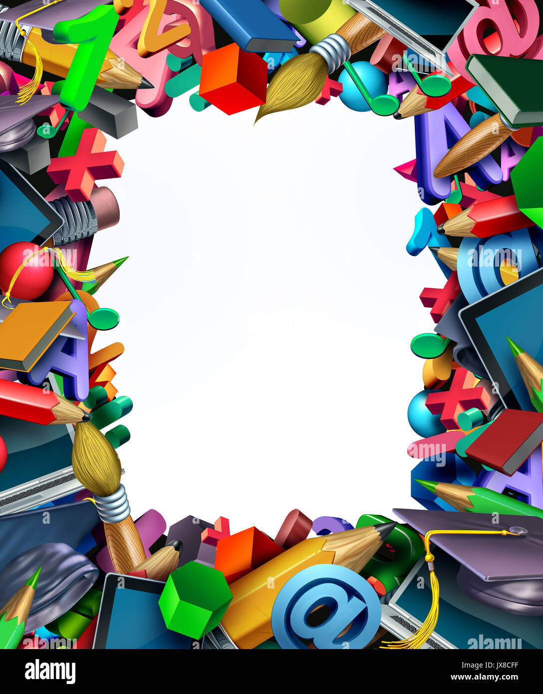 school supplies frame border background and learning tools