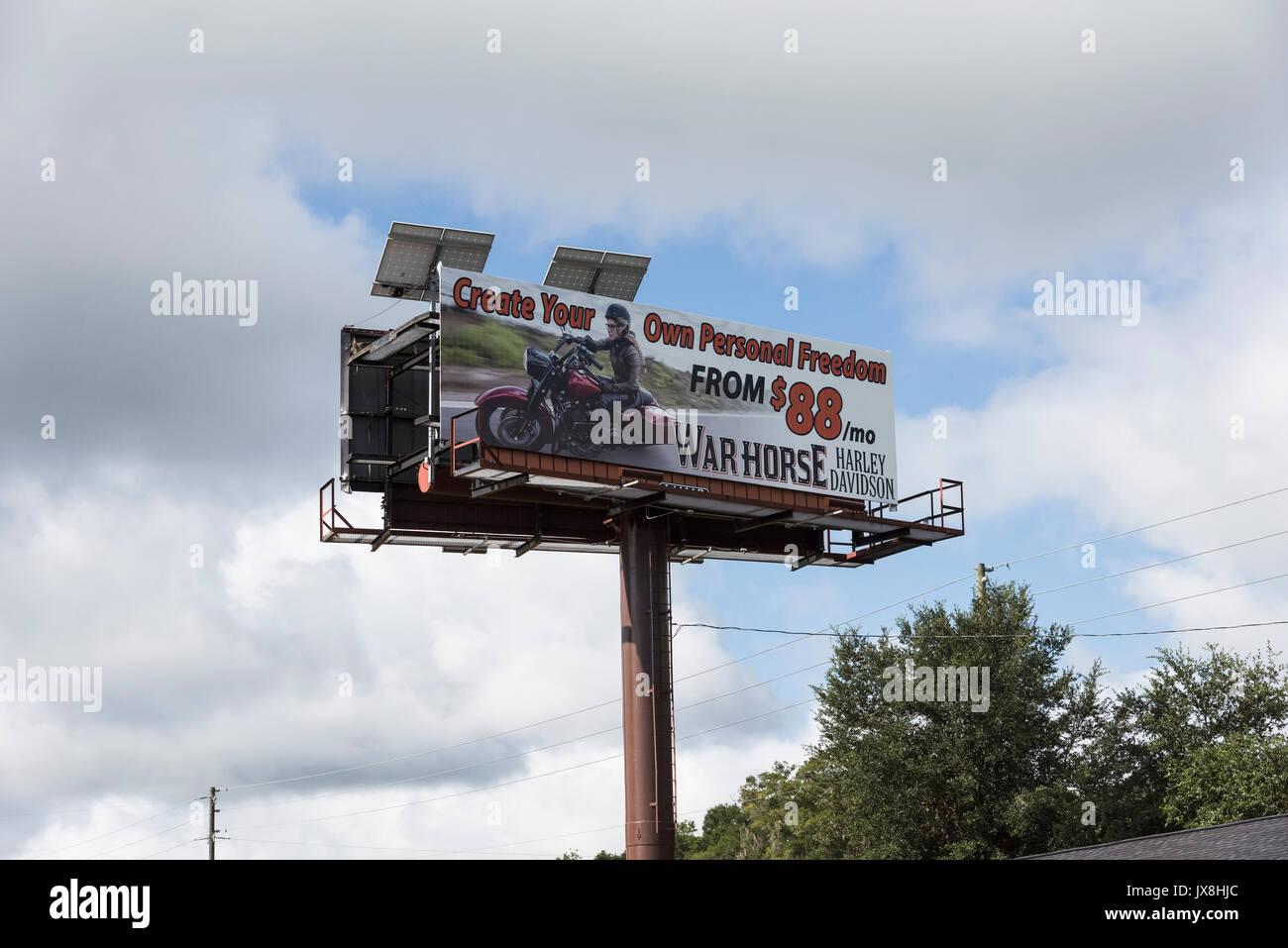 billboard at warhorse harley davidson in ocala, florida stock