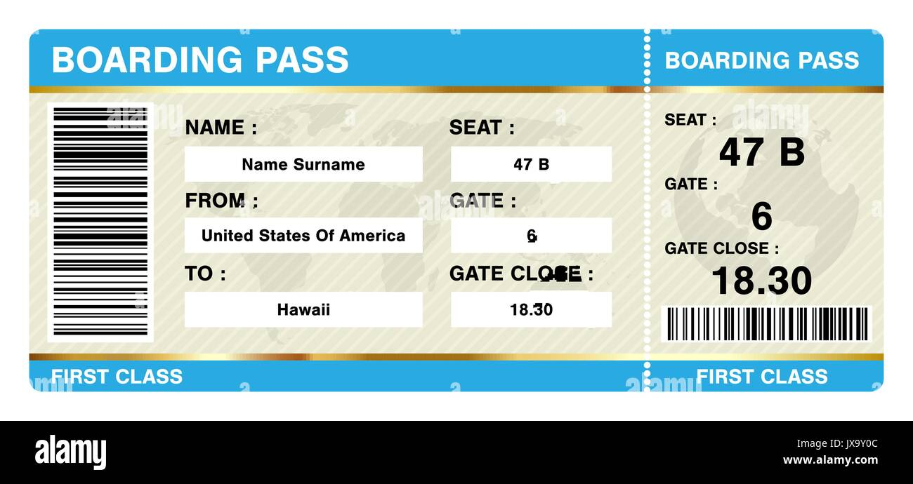Simple Boarding Pass Ticket On White Background Stock Vector Art