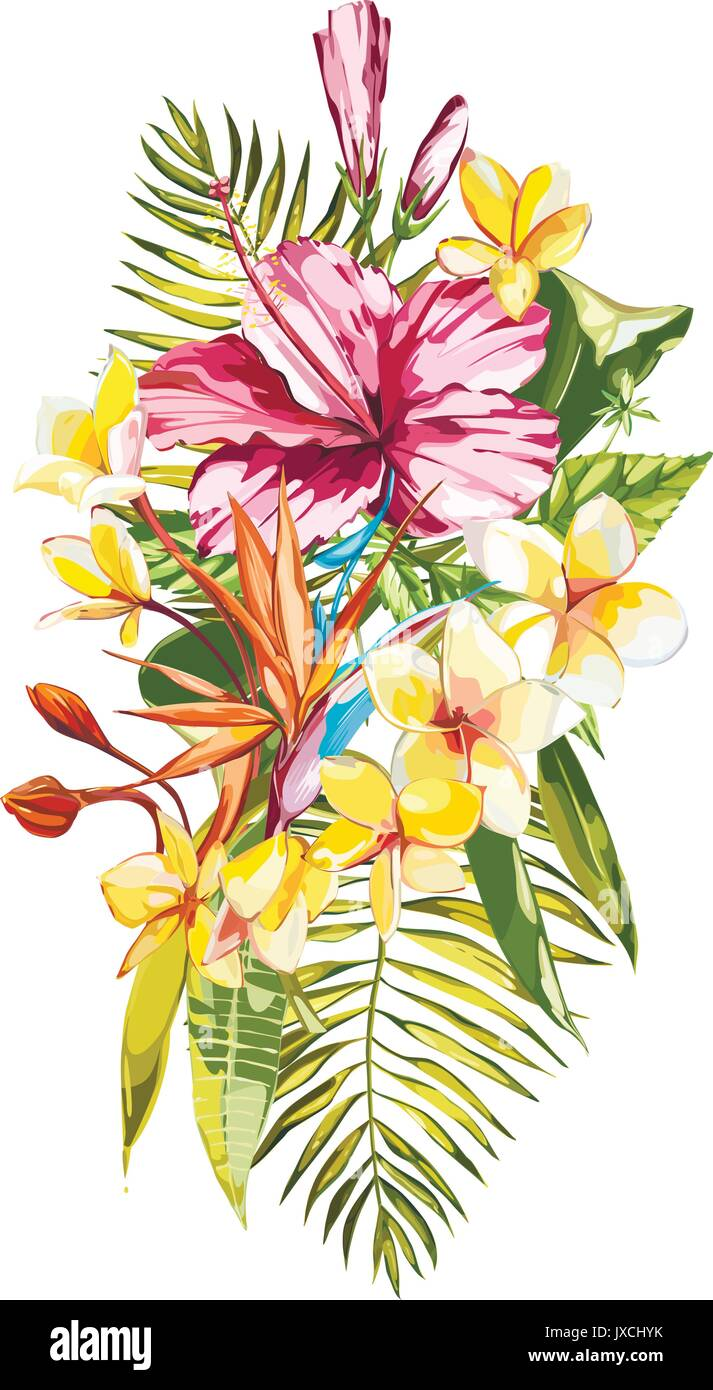 Watercolor painting tropical bouquet with exotic flowers. EPS 10 ...