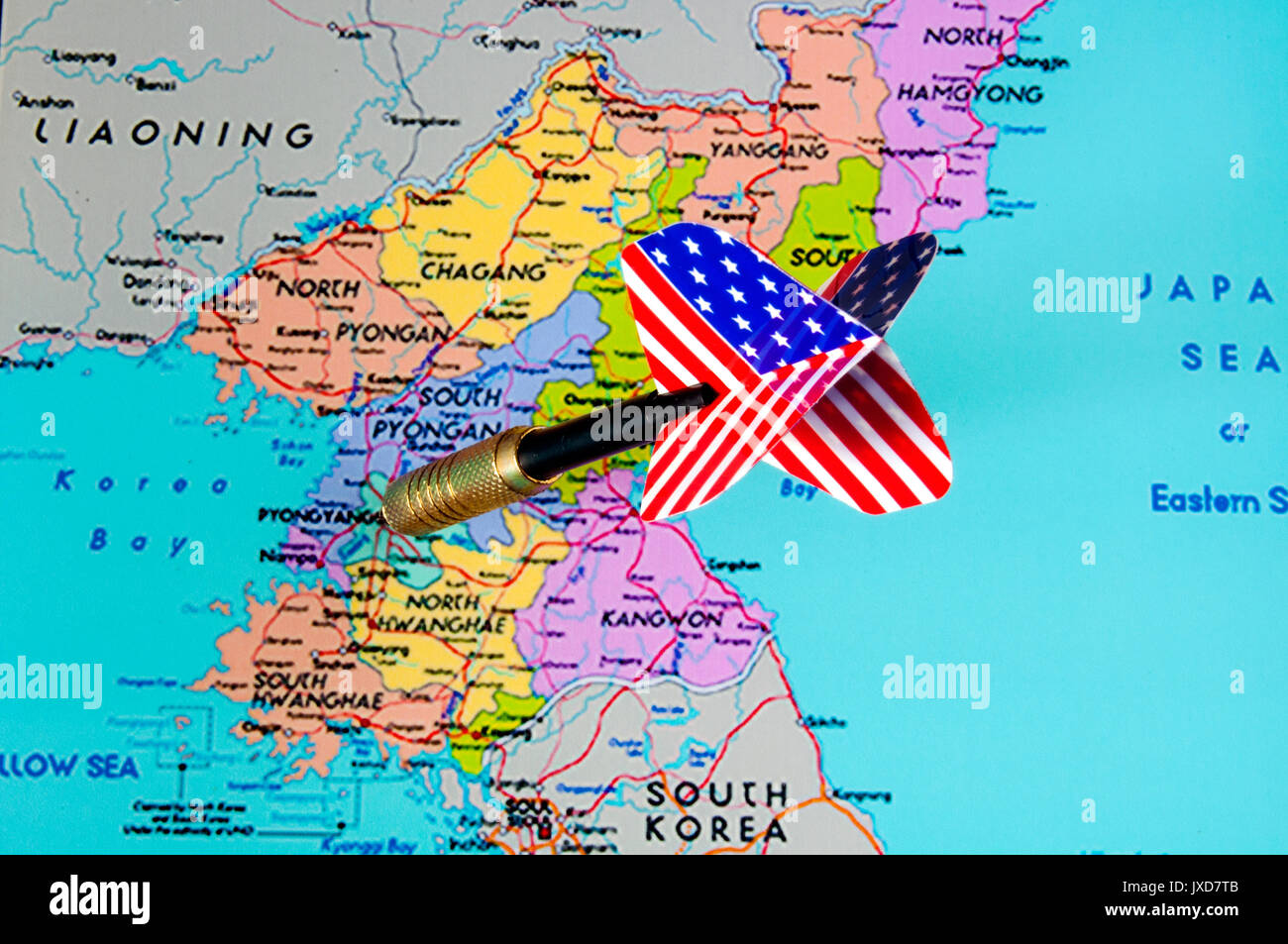 Dart with american flag motif striking pyongyang on map of north dart with american flag motif striking pyongyang on map of north korea sciox Choice Image