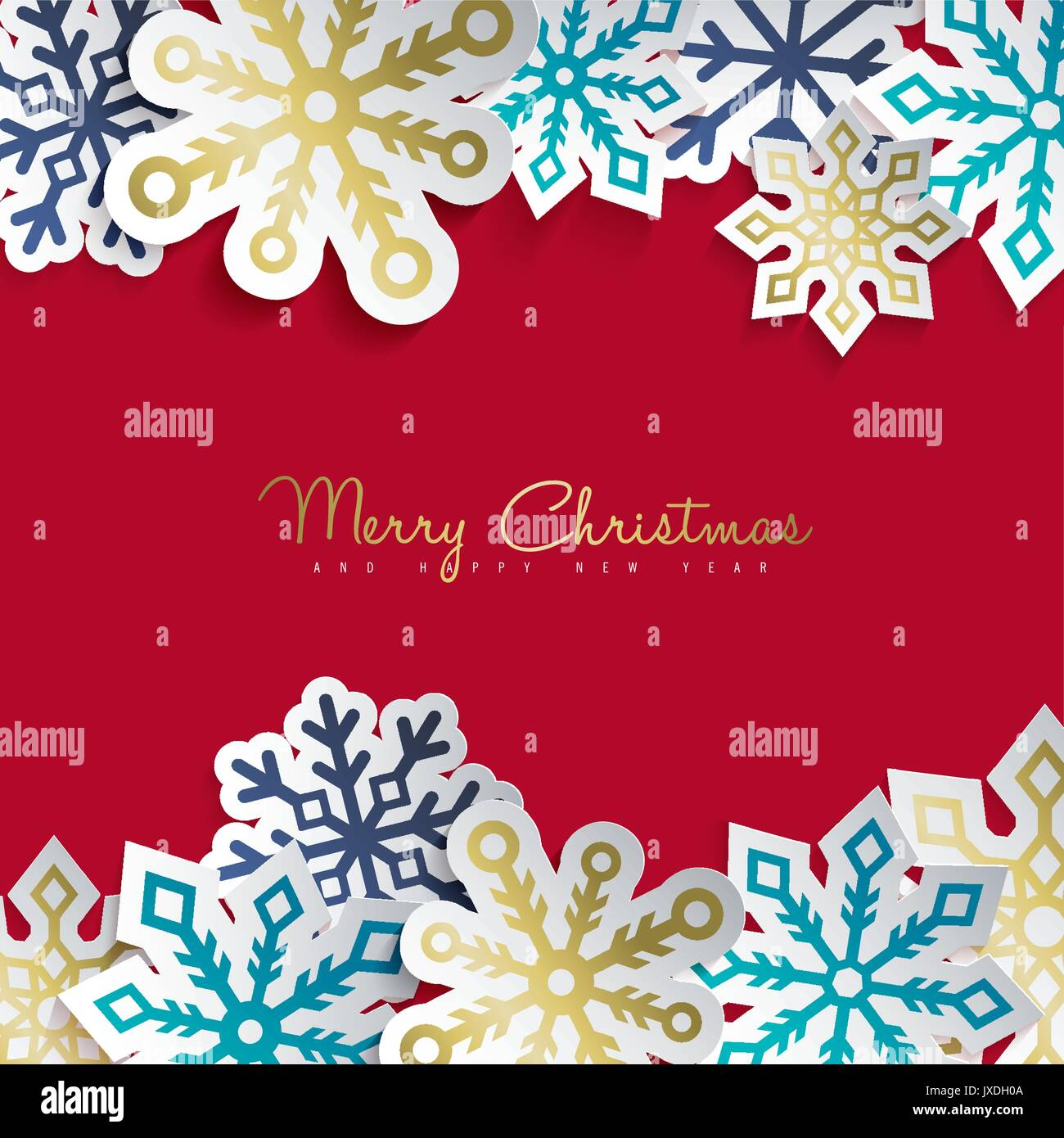Merry Christmas And Happy New Year Greeting Card With Paper Cut