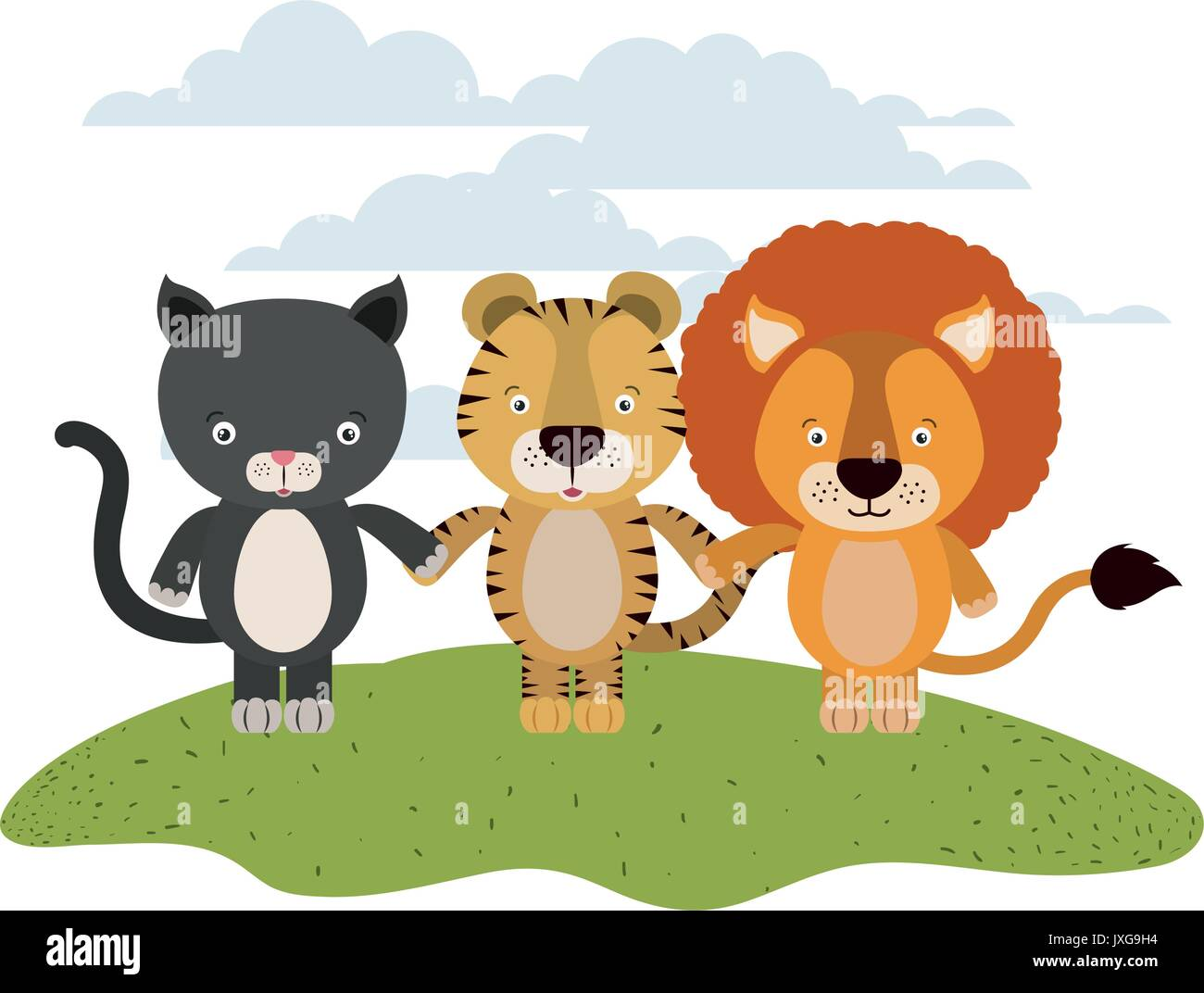 white background with color scene cat tiger and lion cute animals