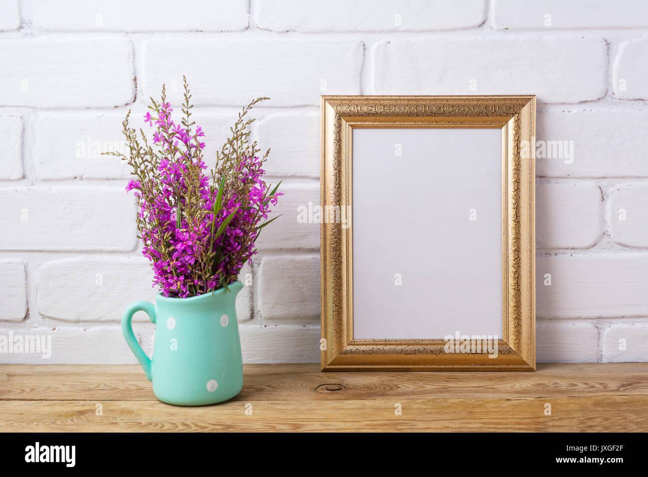 Golden frame mockup with maroon purple field flowers in polka dot golden frame mockup with maroon purple field flowers in polka dot mint green pitcher vase empty frame mock up for presentation artwork template fram reviewsmspy
