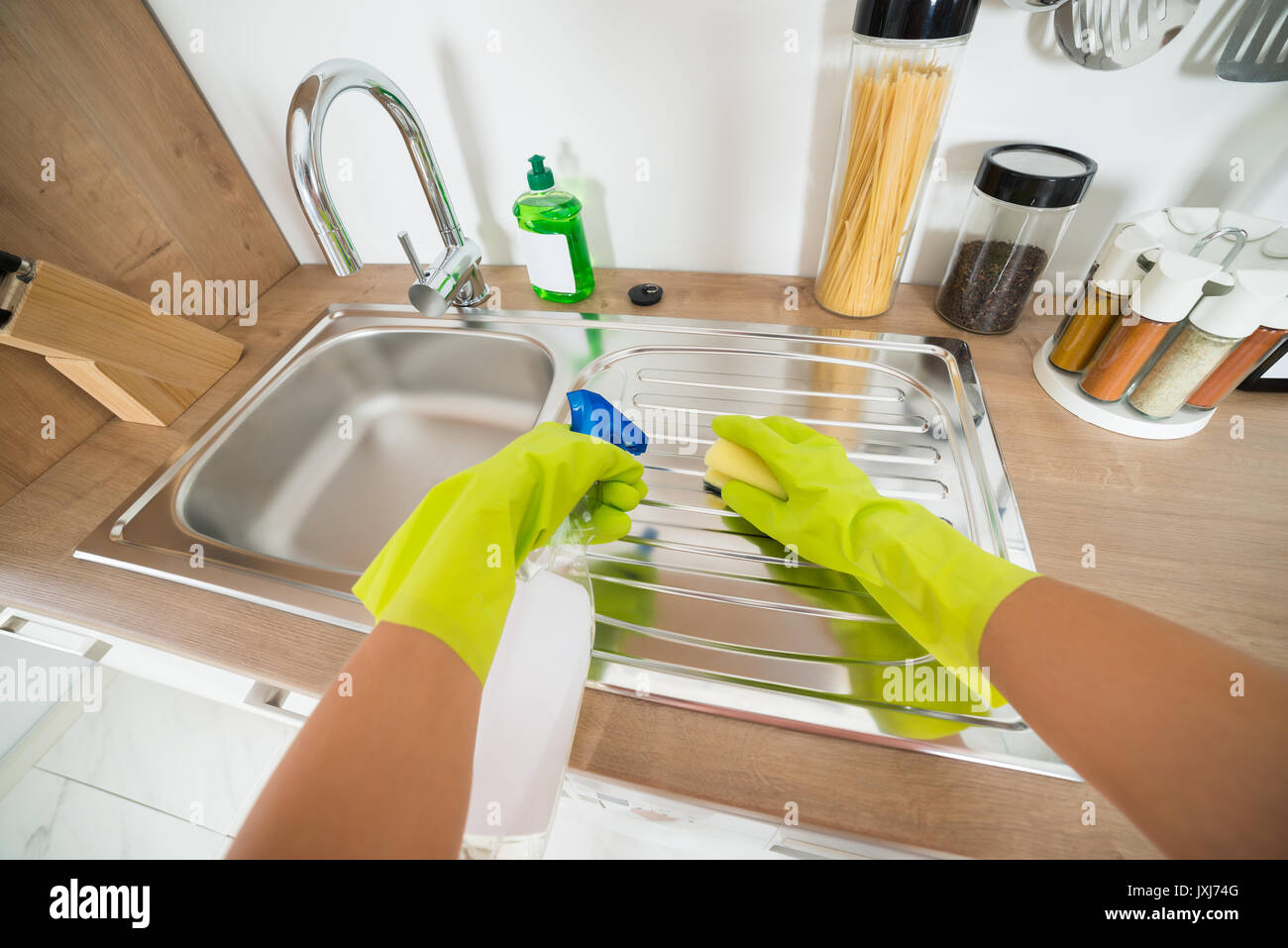Cleaning Service Woman Hand Wearing Gloves Cleaning The Kitchen ...