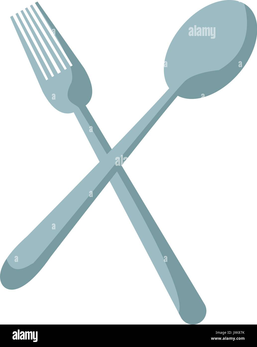 crossed spoon and fork tool cooking kitchen icon Stock Vector Art ...
