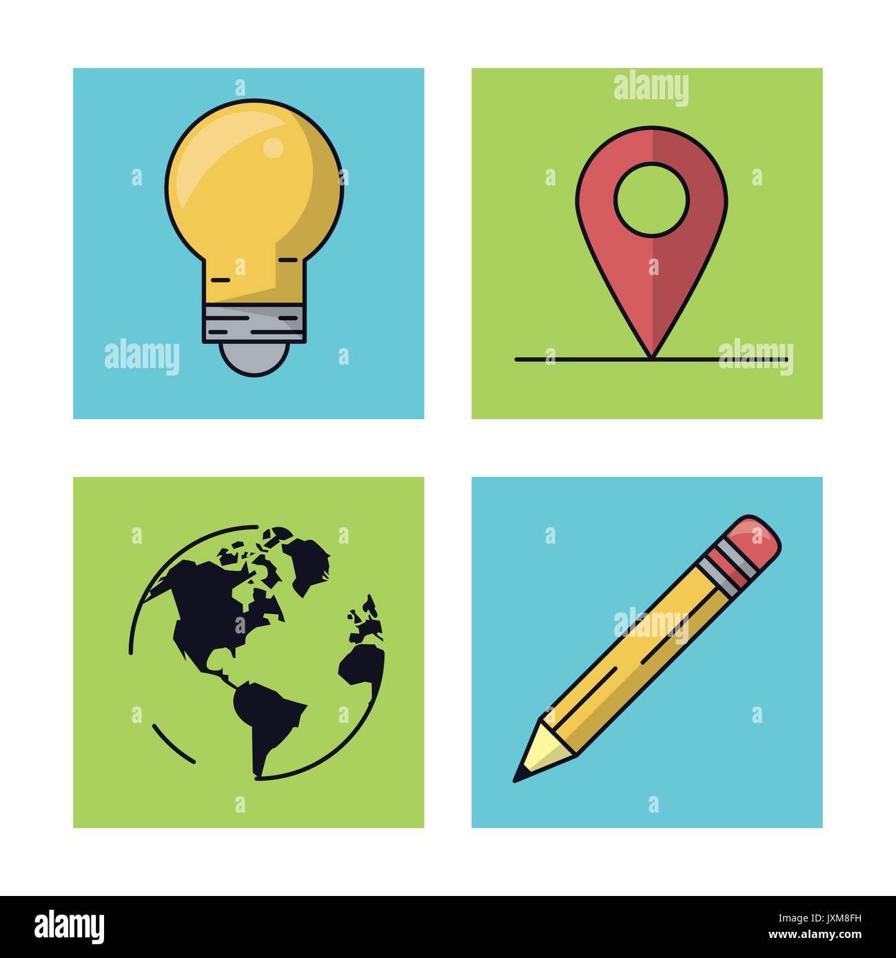 White background with colorful squares with icons of mobile app as white background with colorful squares with icons of mobile app as light bulb and map pointer and world map and pencil gumiabroncs Image collections