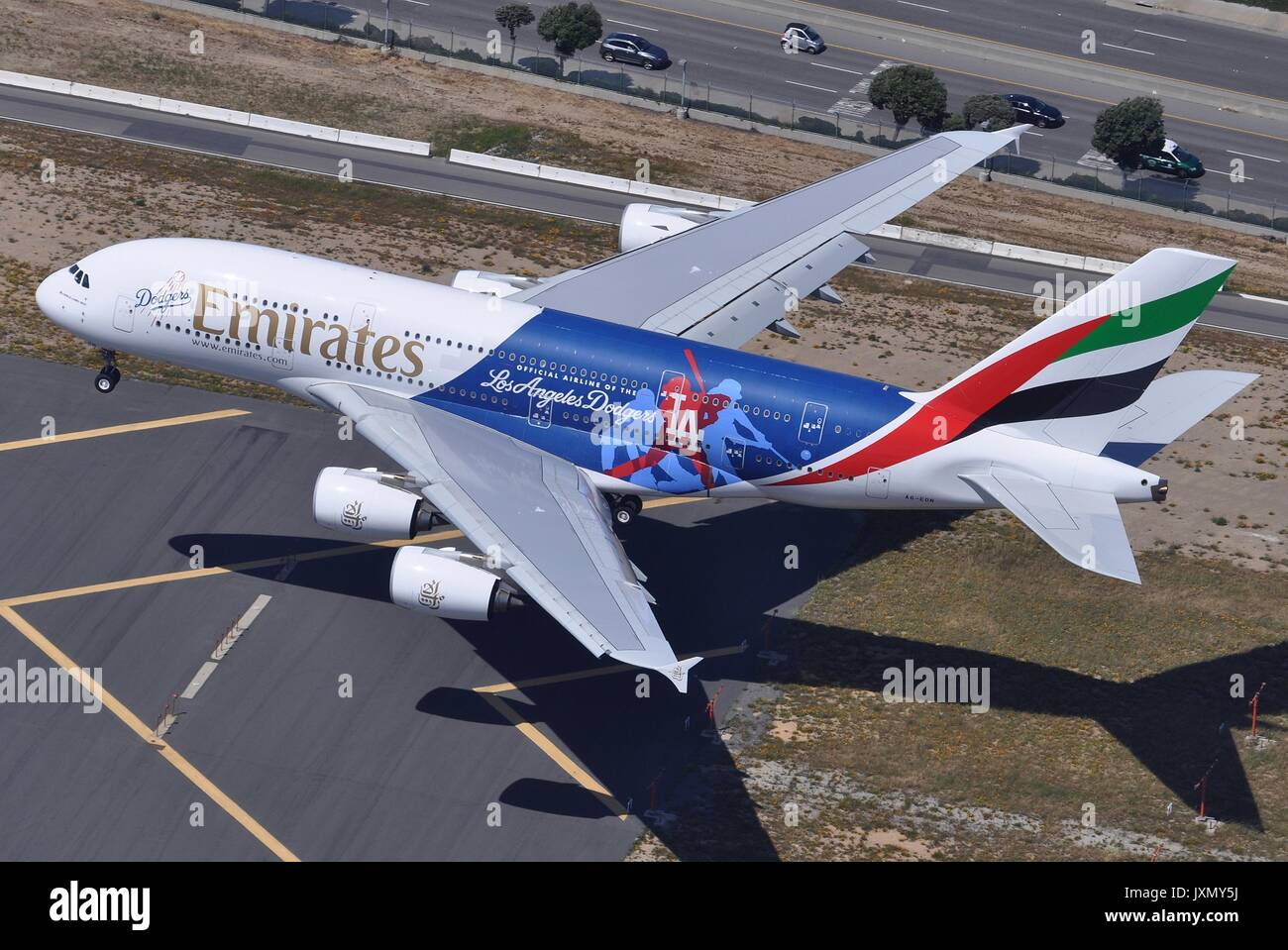 Dodgers stock photos dodgers stock images alamy emirates airbus a380 800 a6 eon la dodgers landing in los angeles buycottarizona Image collections