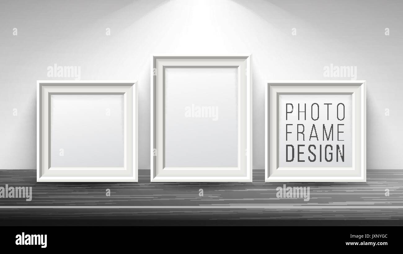 Realistic Blank Picture Frame Vector. Light Wood and Dark Wood Stock ...