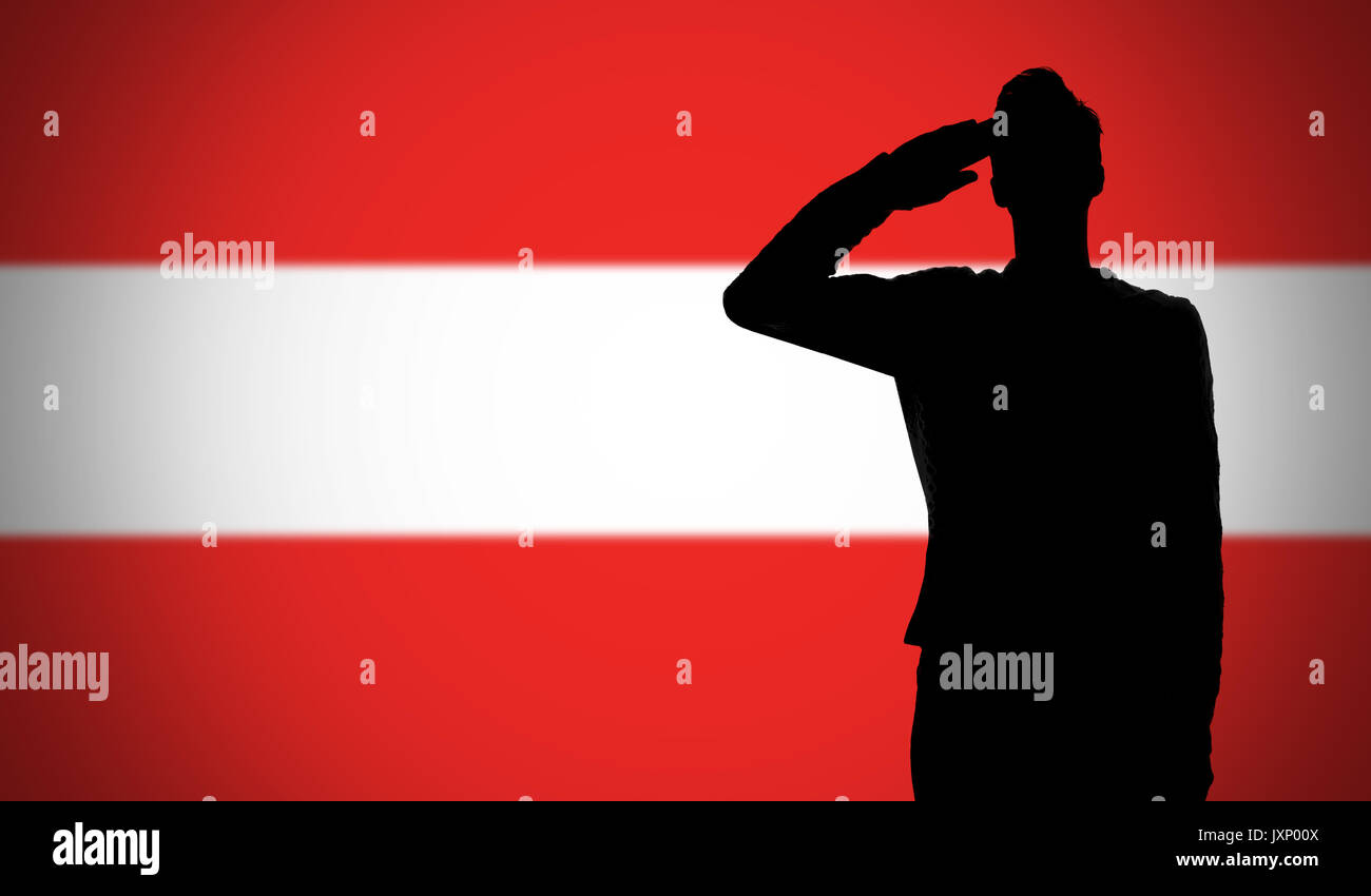 silhouette of a soldier saluting against the austria flag
