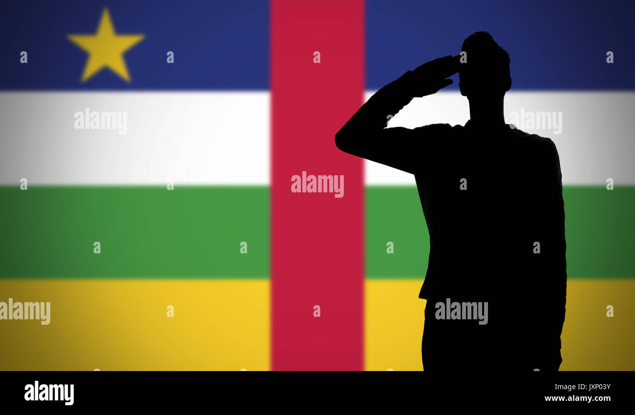 silhouette of a soldier saluting against the central african republic flag